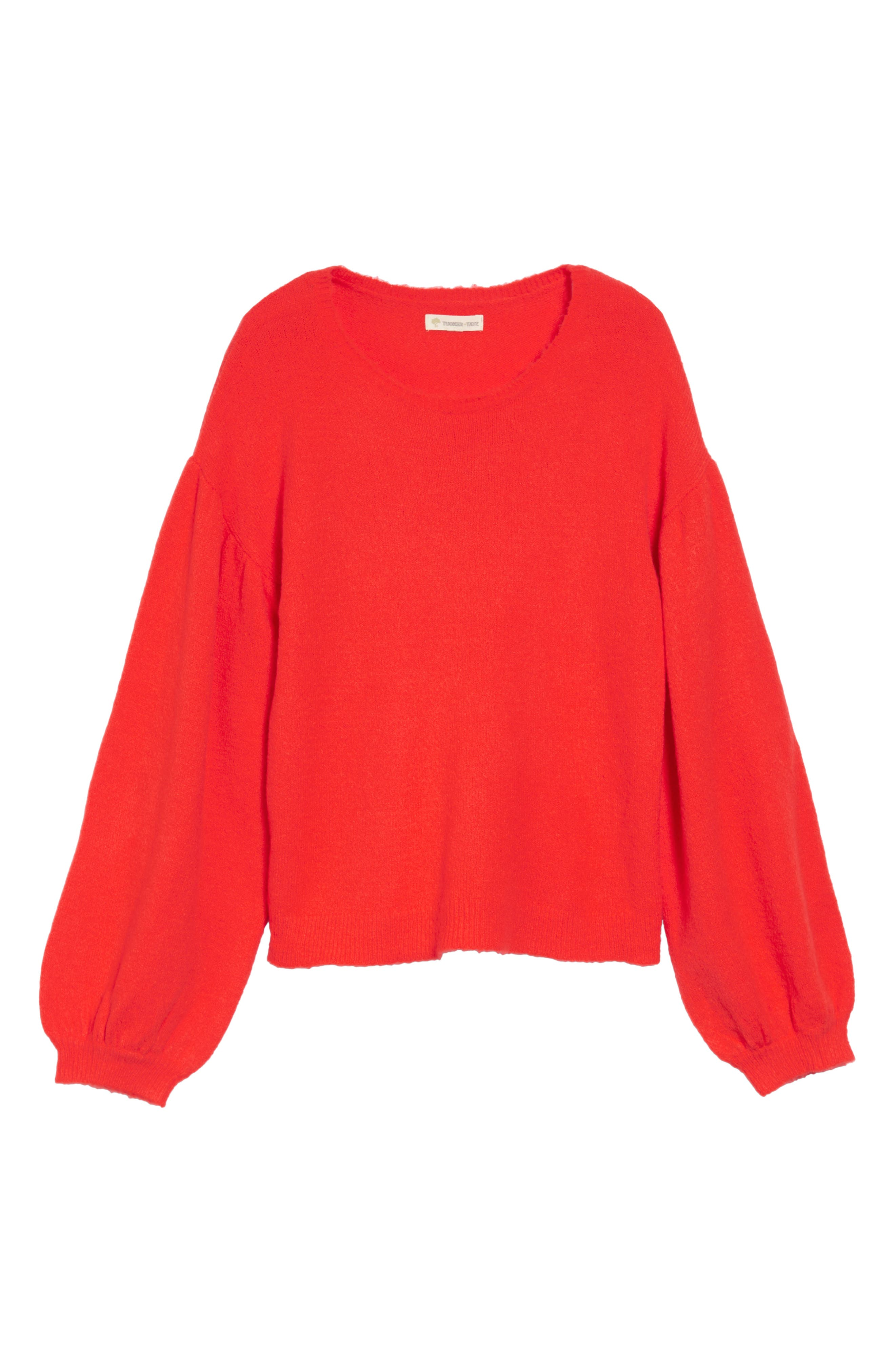Bubble Sleeve Sweater,                             Main thumbnail 1, color,                             RED TOMATO