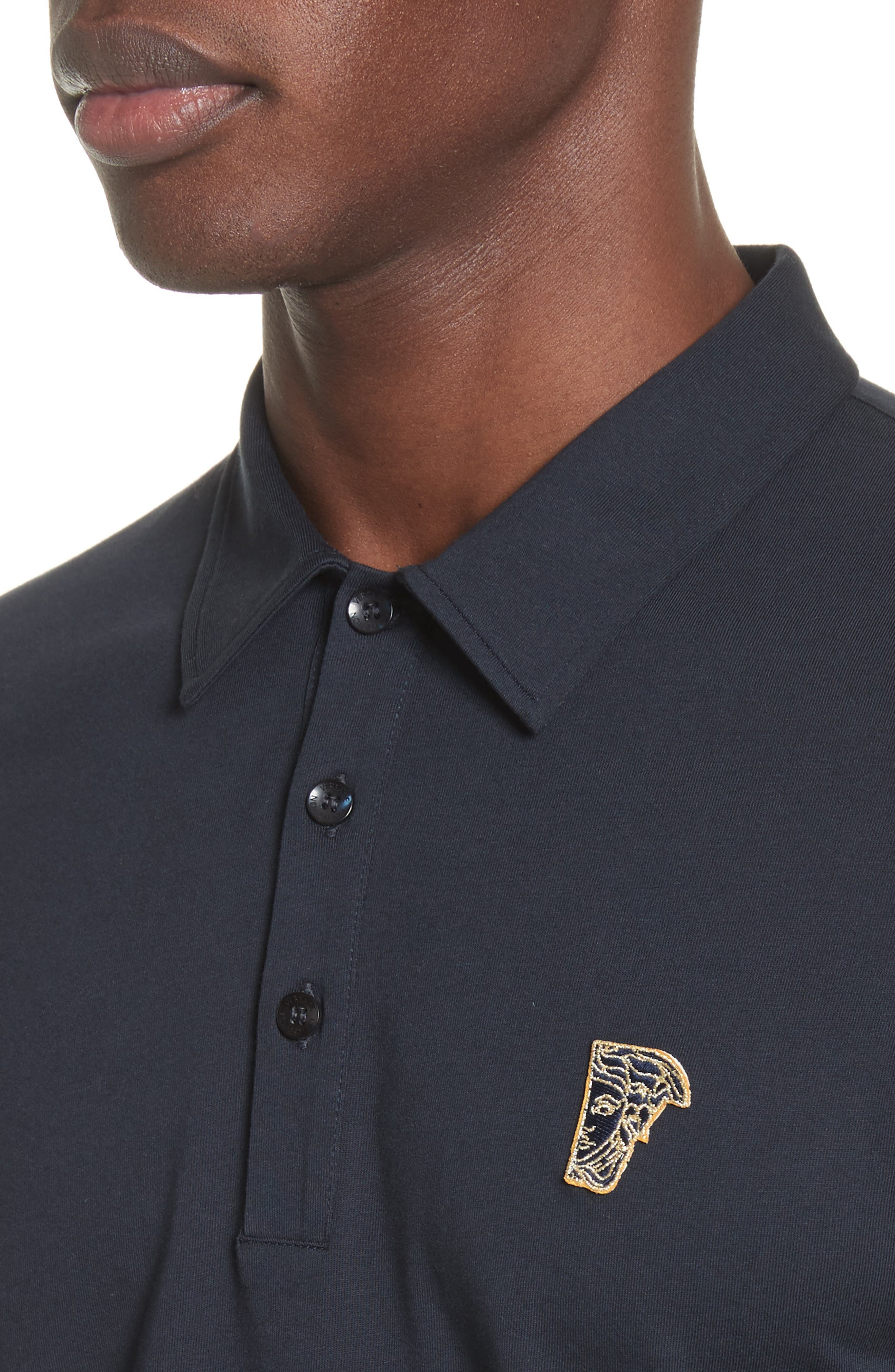 Trim Fit Polo,                             Alternate thumbnail 4, color,                             NAVY/GOLD
