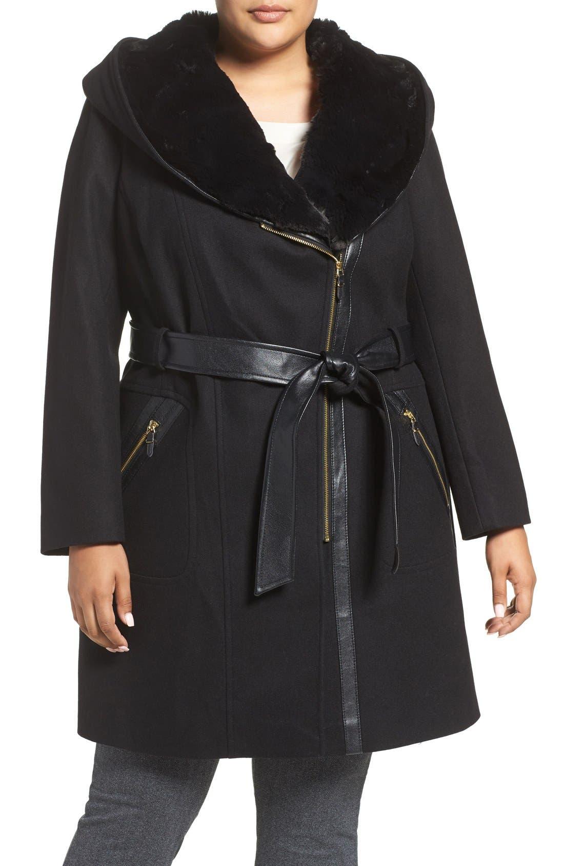 Wool Blend Coat with Faux Fur Trim,                             Main thumbnail 1, color,                             001