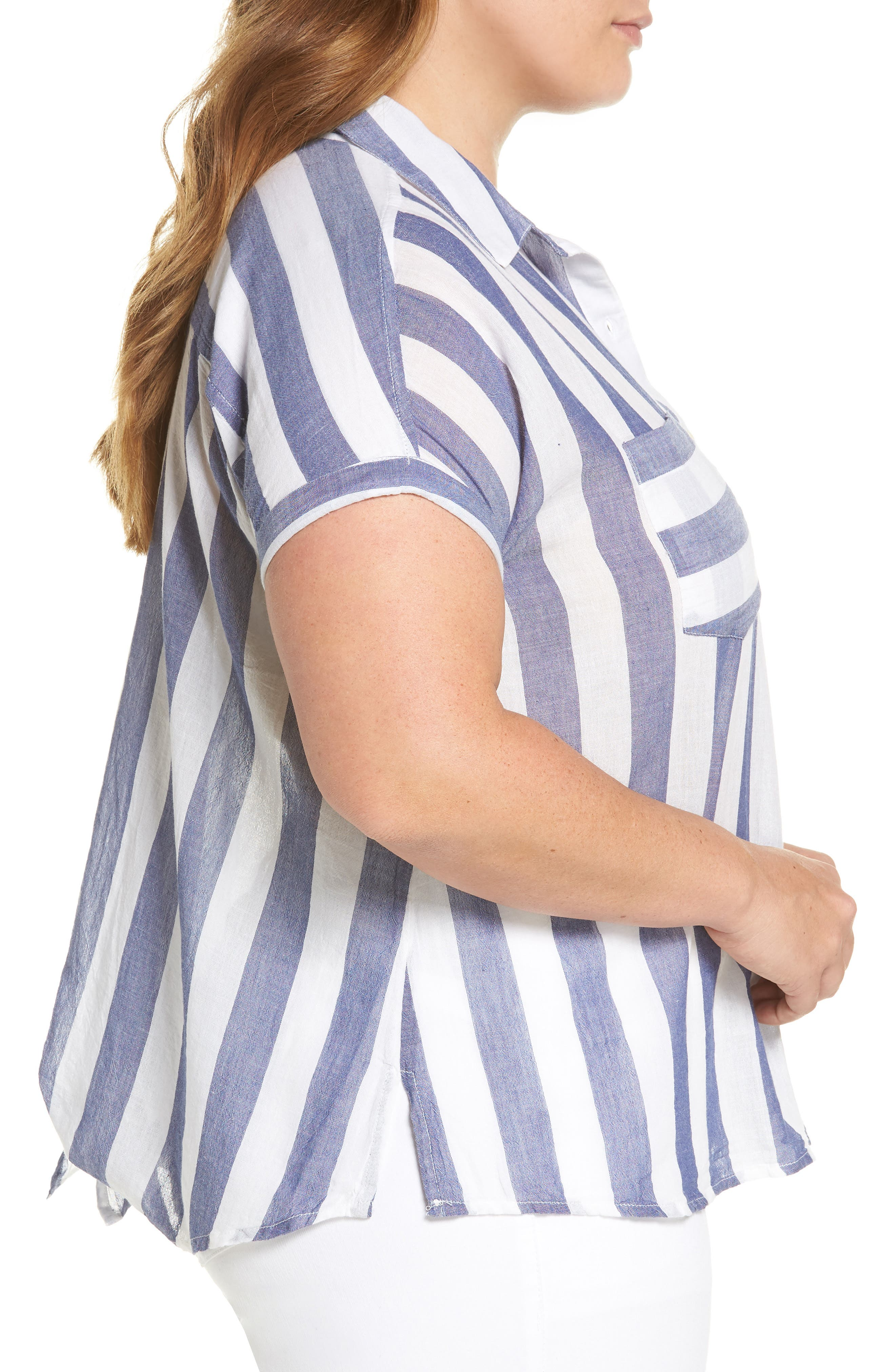 Stripe Back Tie Shirt,                             Alternate thumbnail 3, color,