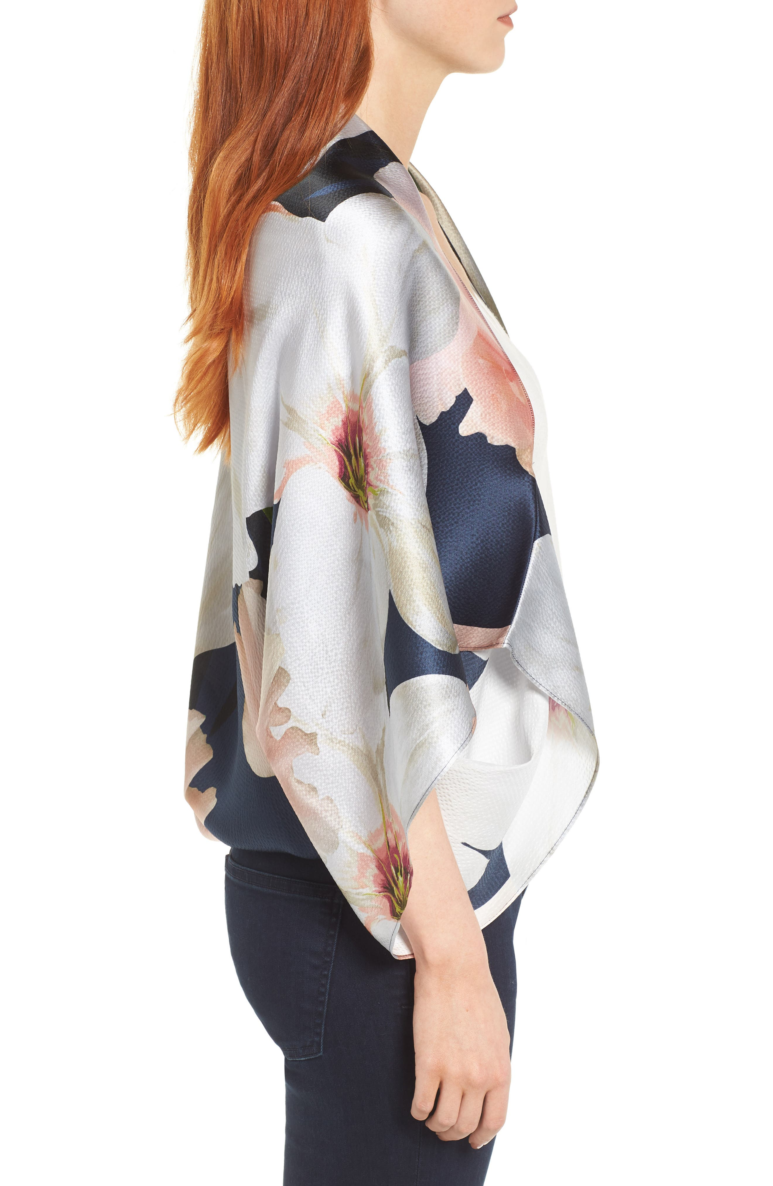 Chatsworth Bloom Silk Cape Scarf,                             Alternate thumbnail 6, color,