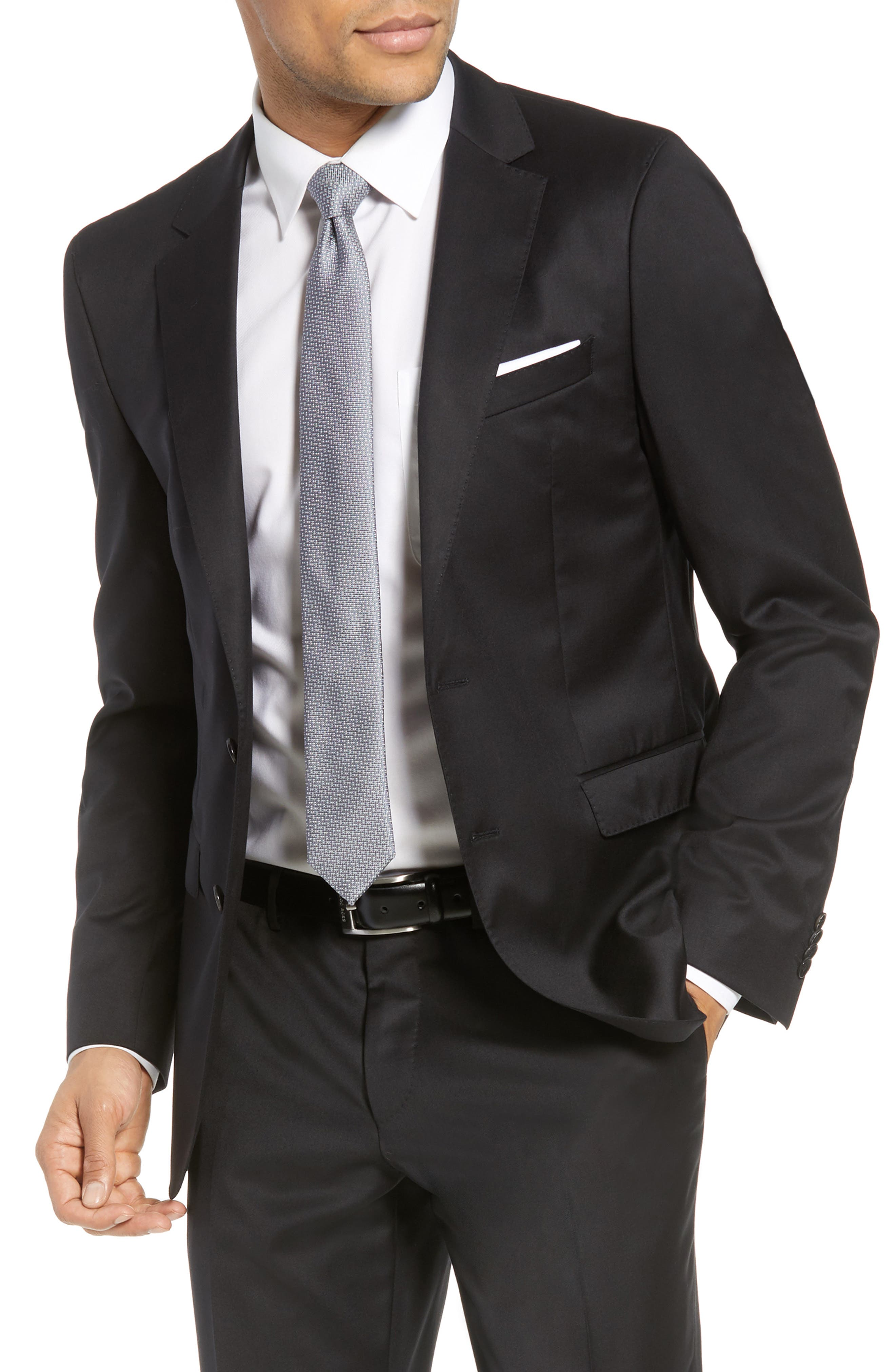 Ryan/Win Extra Trim Fit Solid Wool Suit,                             Alternate thumbnail 7, color,                             BLACK