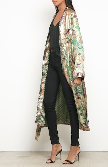 Alternate Video 7  - Etro Tie Waist Silk Blend Metallic Jacquard Jacket