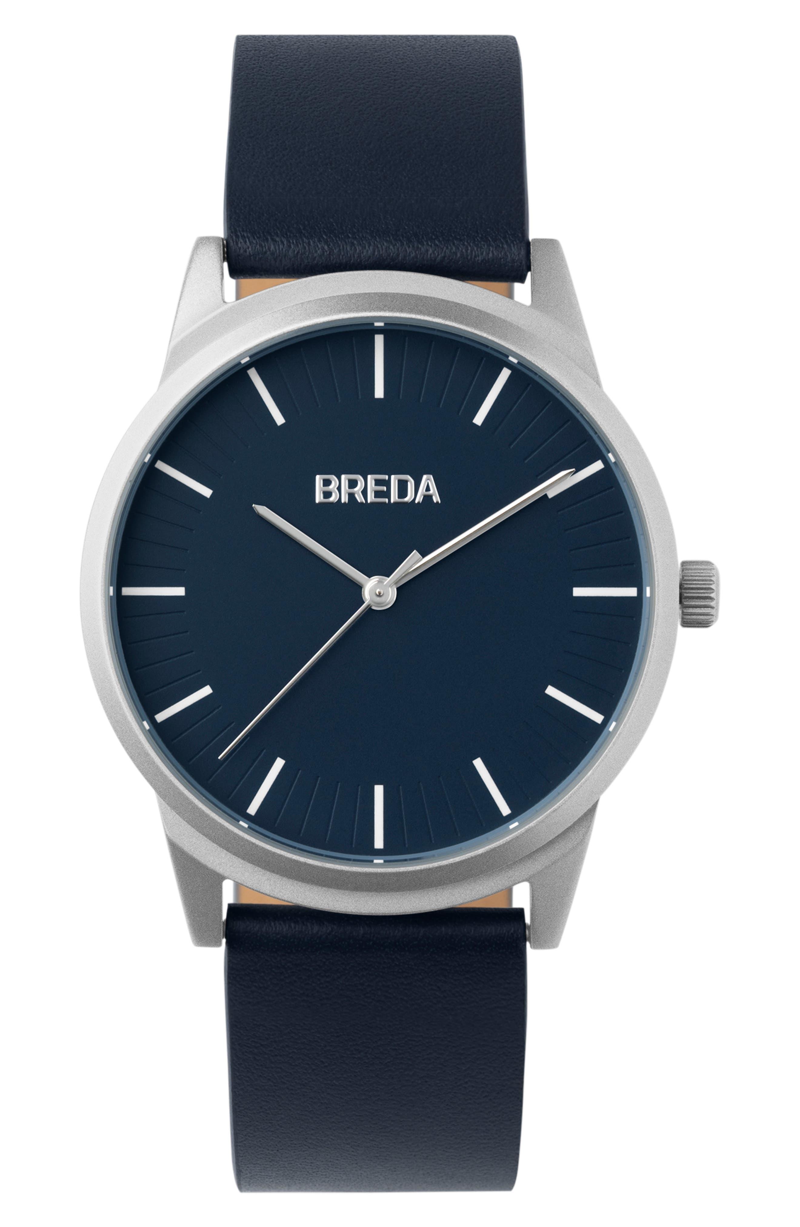 Breda Bresson Leather Strap Watch,