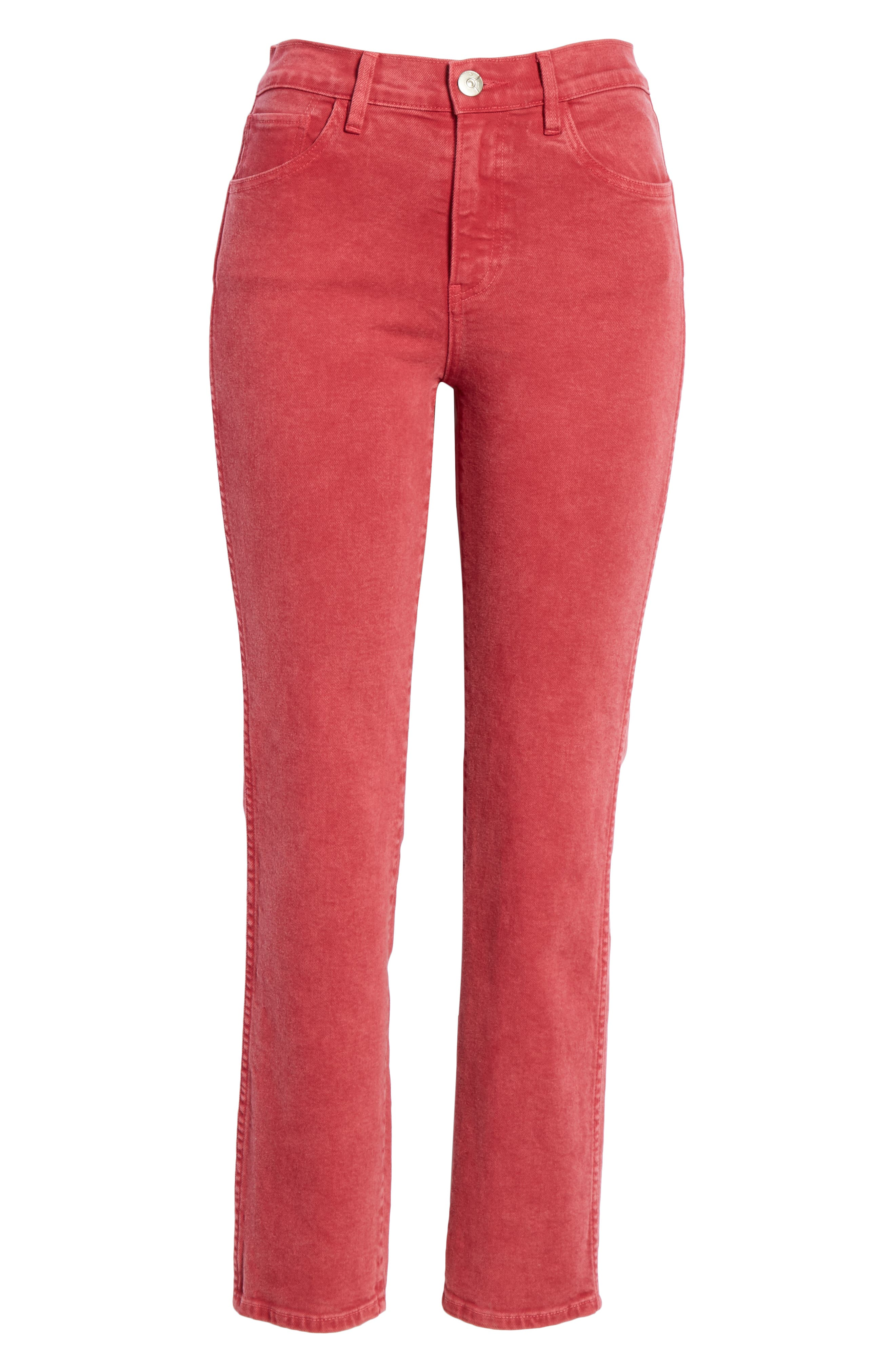 3X1 NYC,                             Stevie Straight Leg Jeans,                             Alternate thumbnail 6, color,                             MINERAL RUST RED