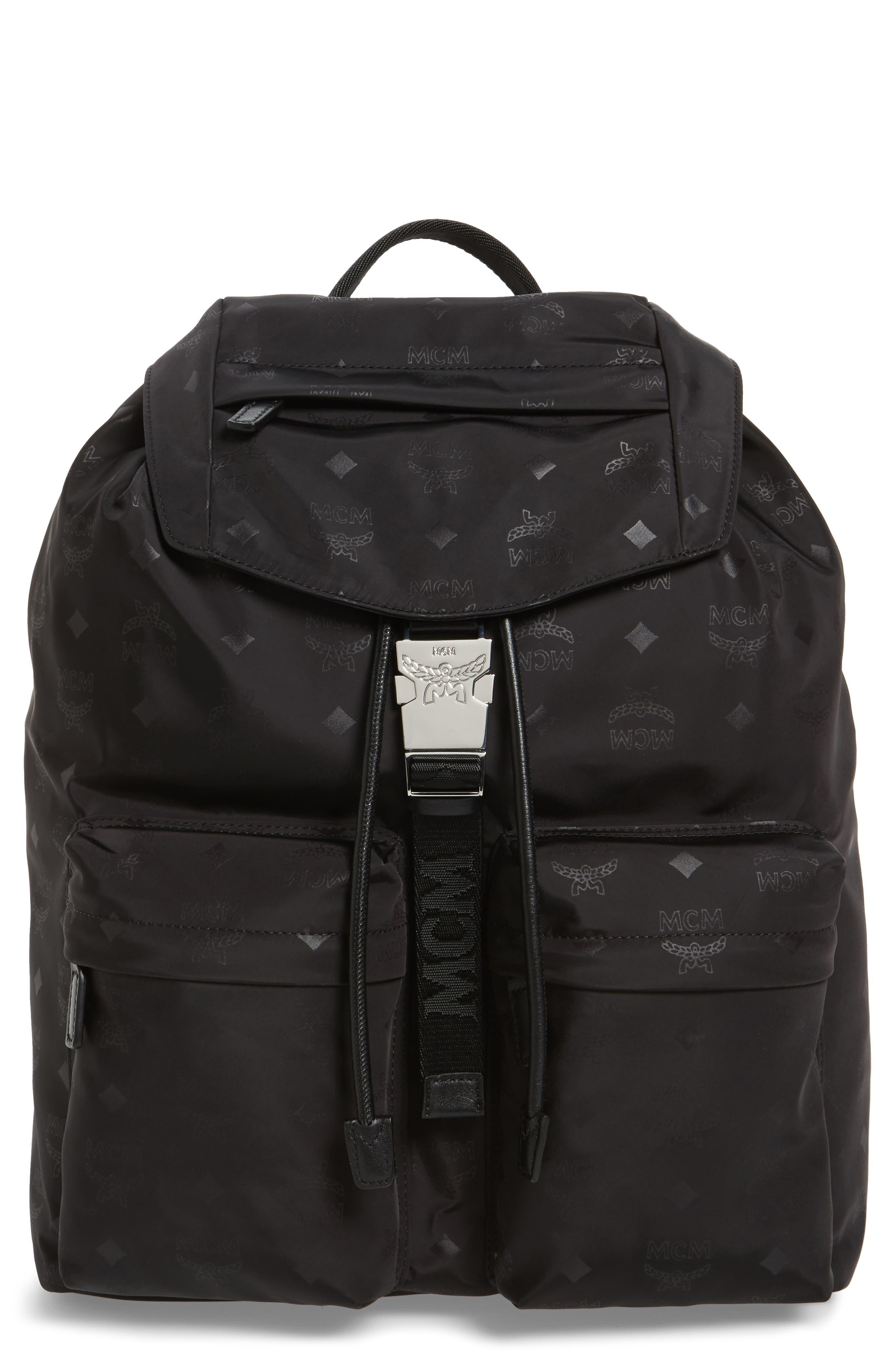 Large Dieter Monogrammed Nylon Backpack,                             Main thumbnail 1, color,                             001