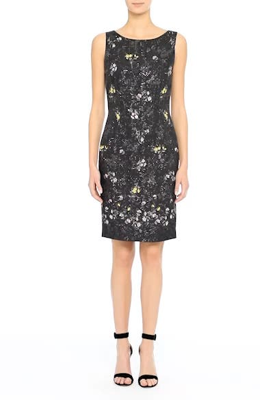 Falling Bouquet Metallic Matelassé Sheath Dress, video thumbnail