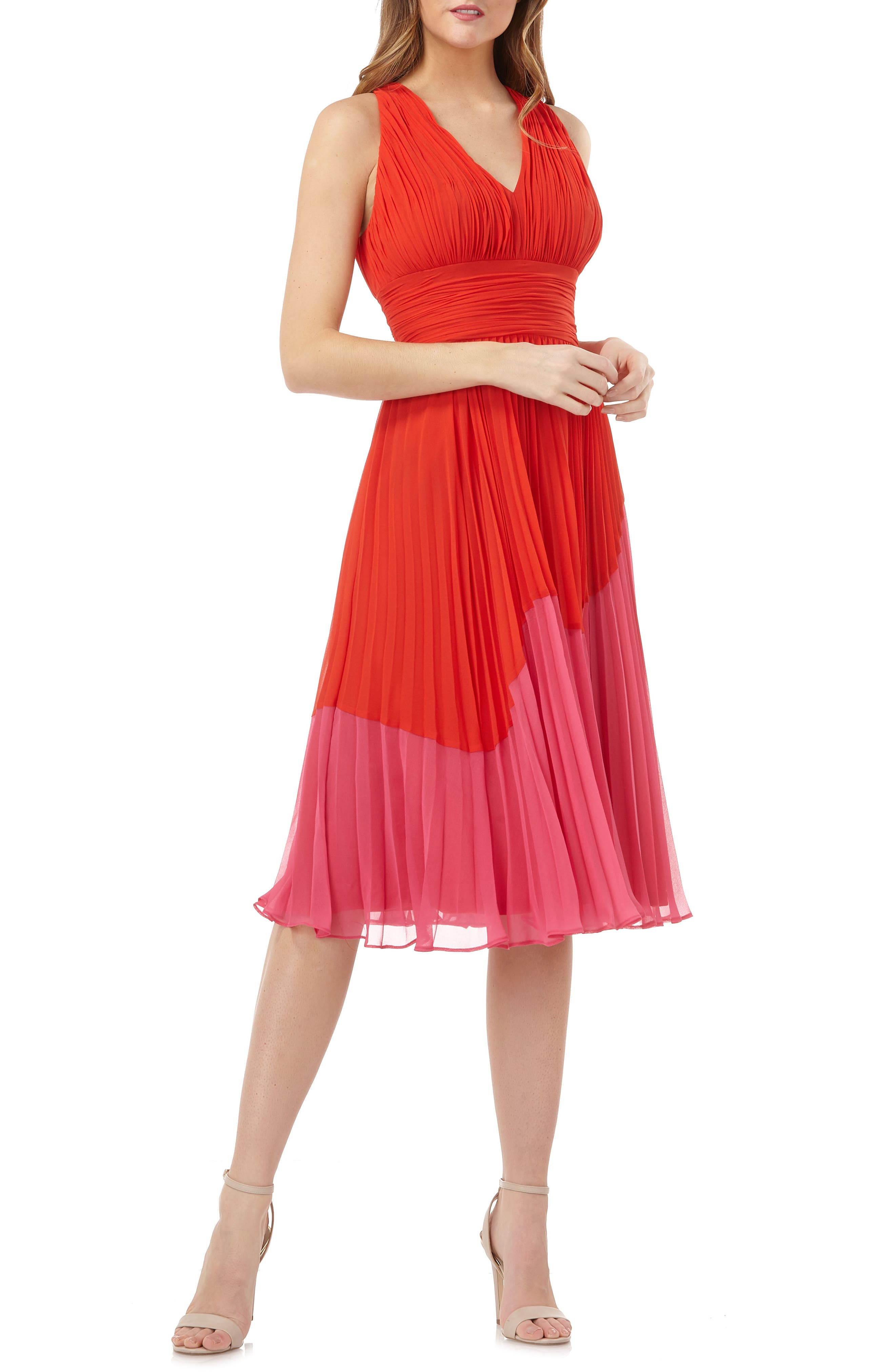 Carmen Marc Valvo Infusion Colorblock Pleated Dress, Red