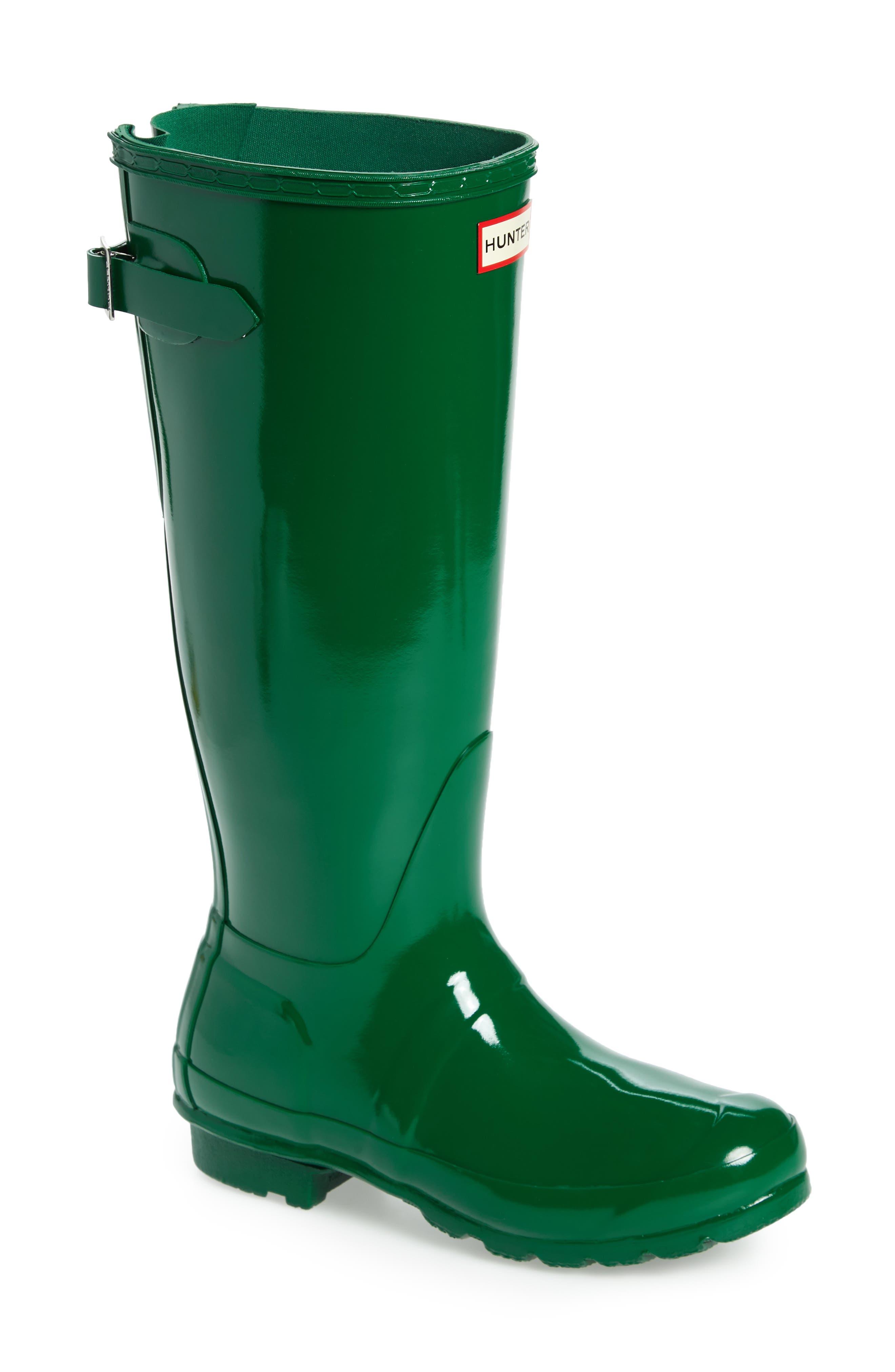Adjustable Back Gloss Waterproof Rain Boot,                             Main thumbnail 1, color,                             360