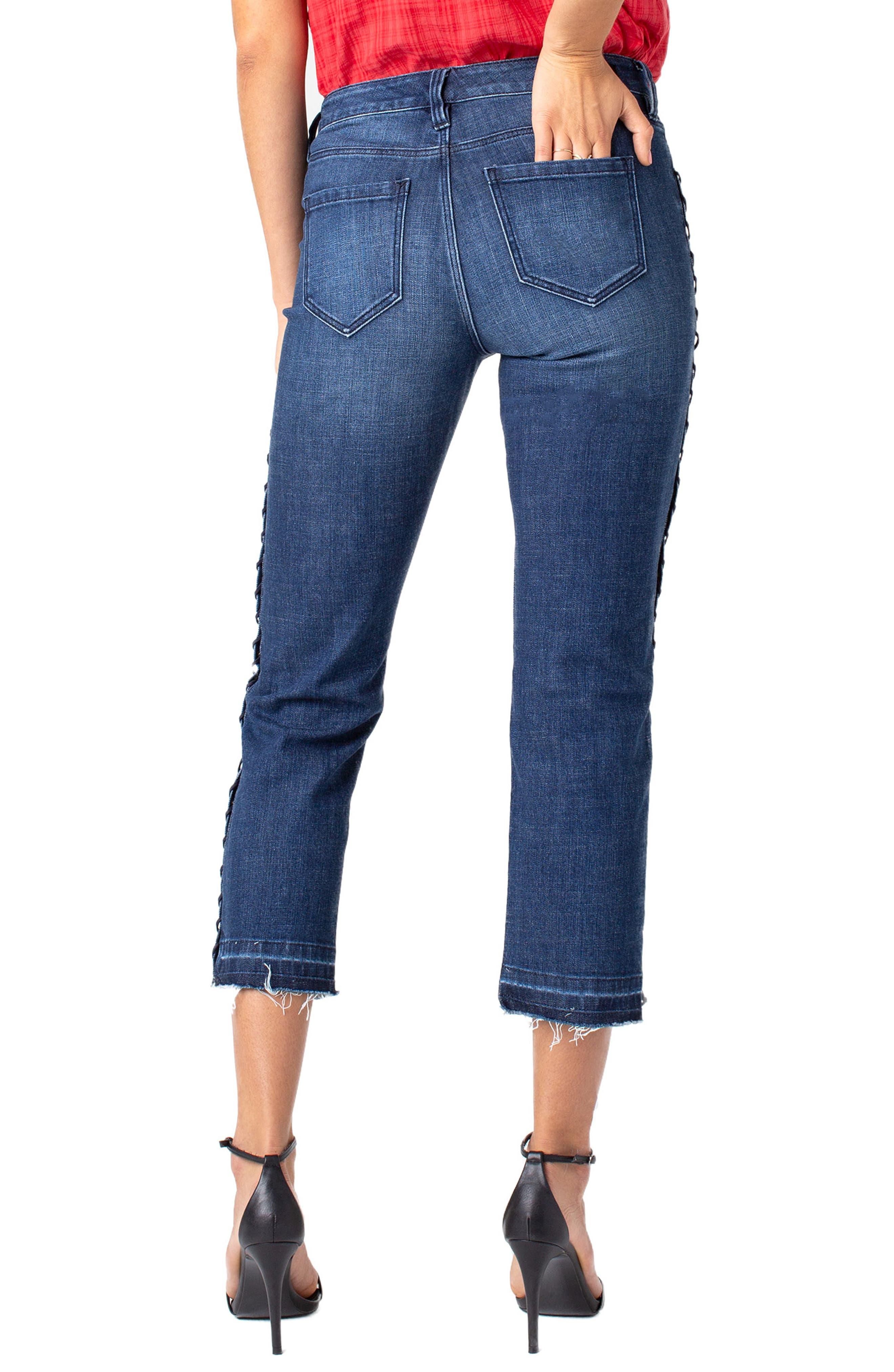 LIVERPOOL,                             Sadie Grommet High Waist Crop Straight Leg Jeans,                             Alternate thumbnail 2, color,                             MONTAUK MID BLUE