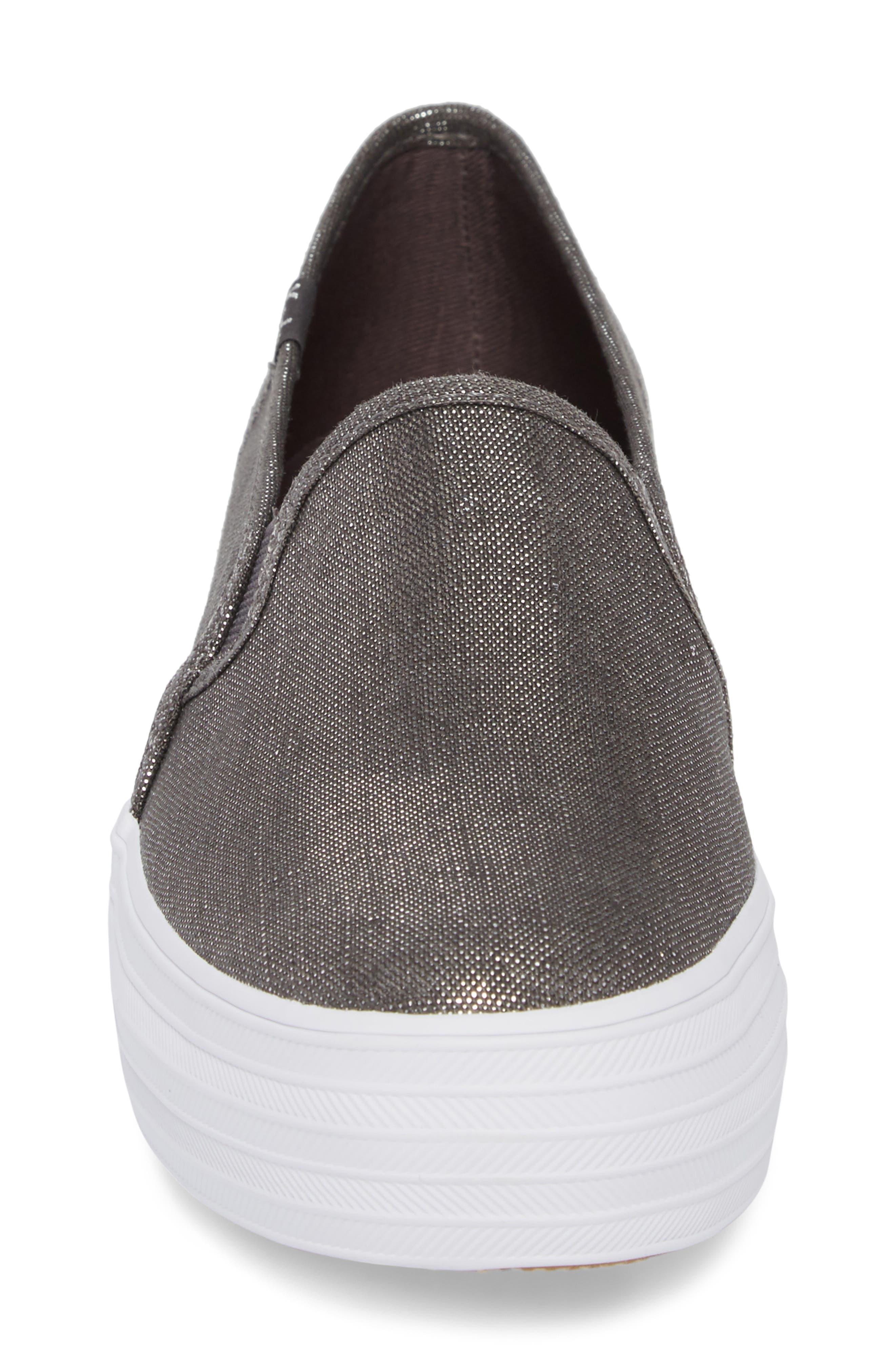 Triple Decker Metallic Linen Slip-On Sneaker,                             Alternate thumbnail 8, color,