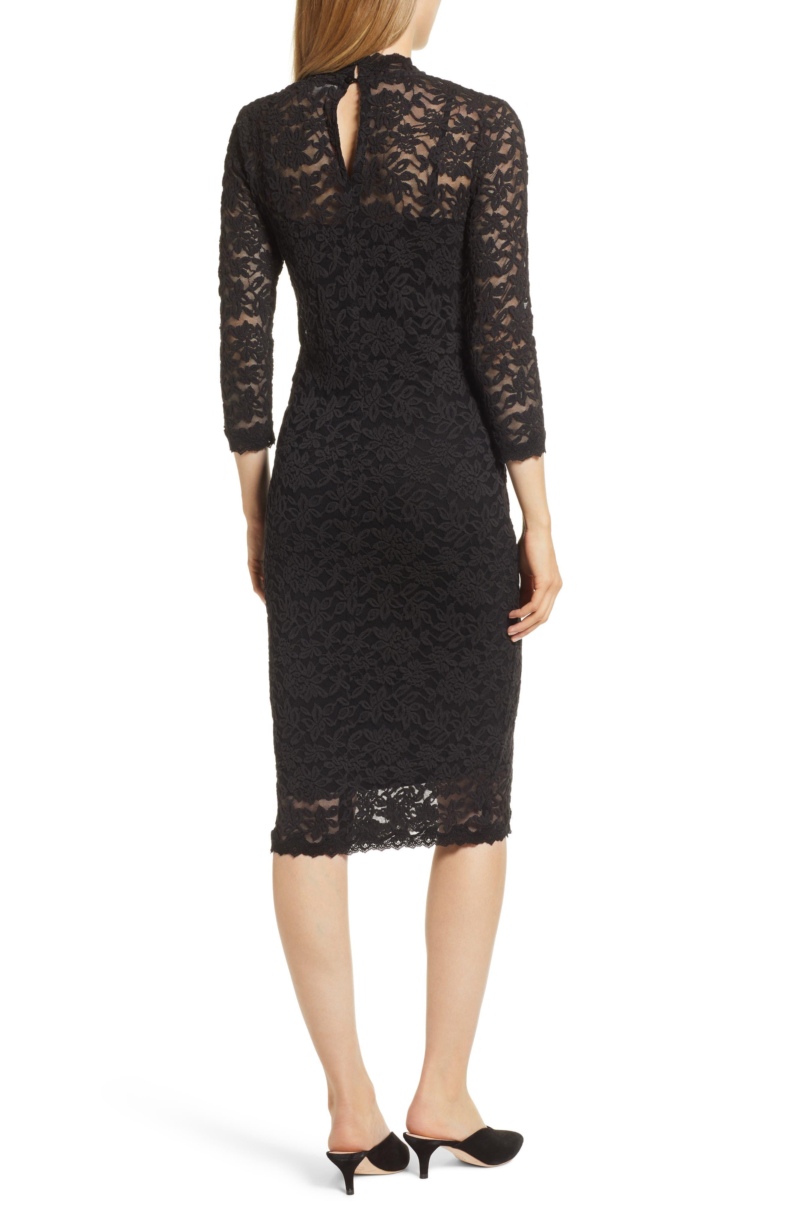 Delicia Lace Body-Con Dress,                             Alternate thumbnail 2, color,                             BLACK SILVER