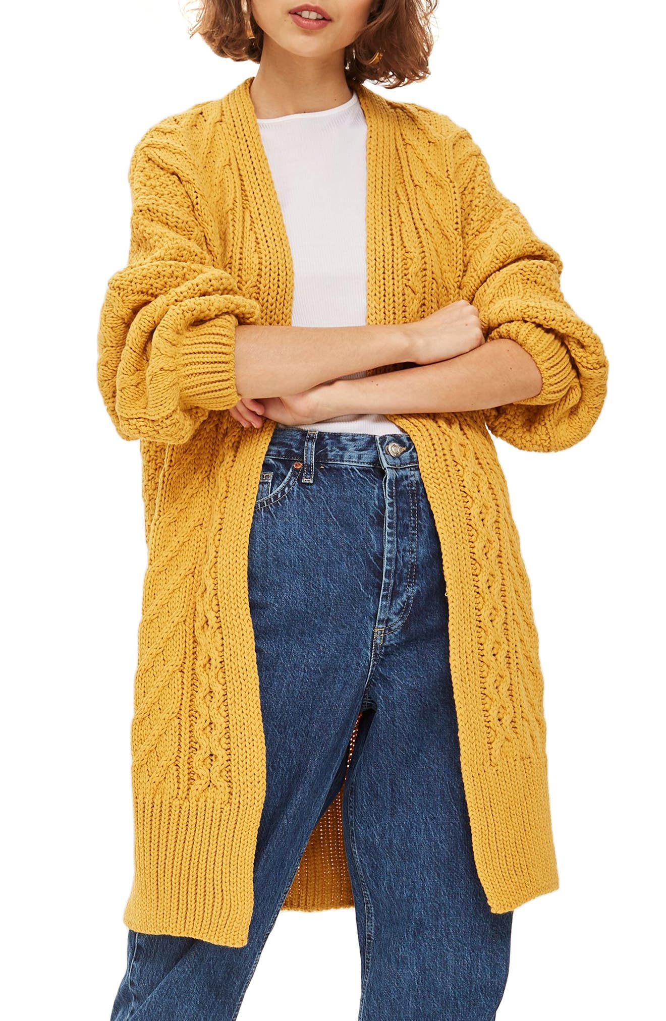 Long Open Front Cardi,                             Main thumbnail 1, color,                             MUSTARD