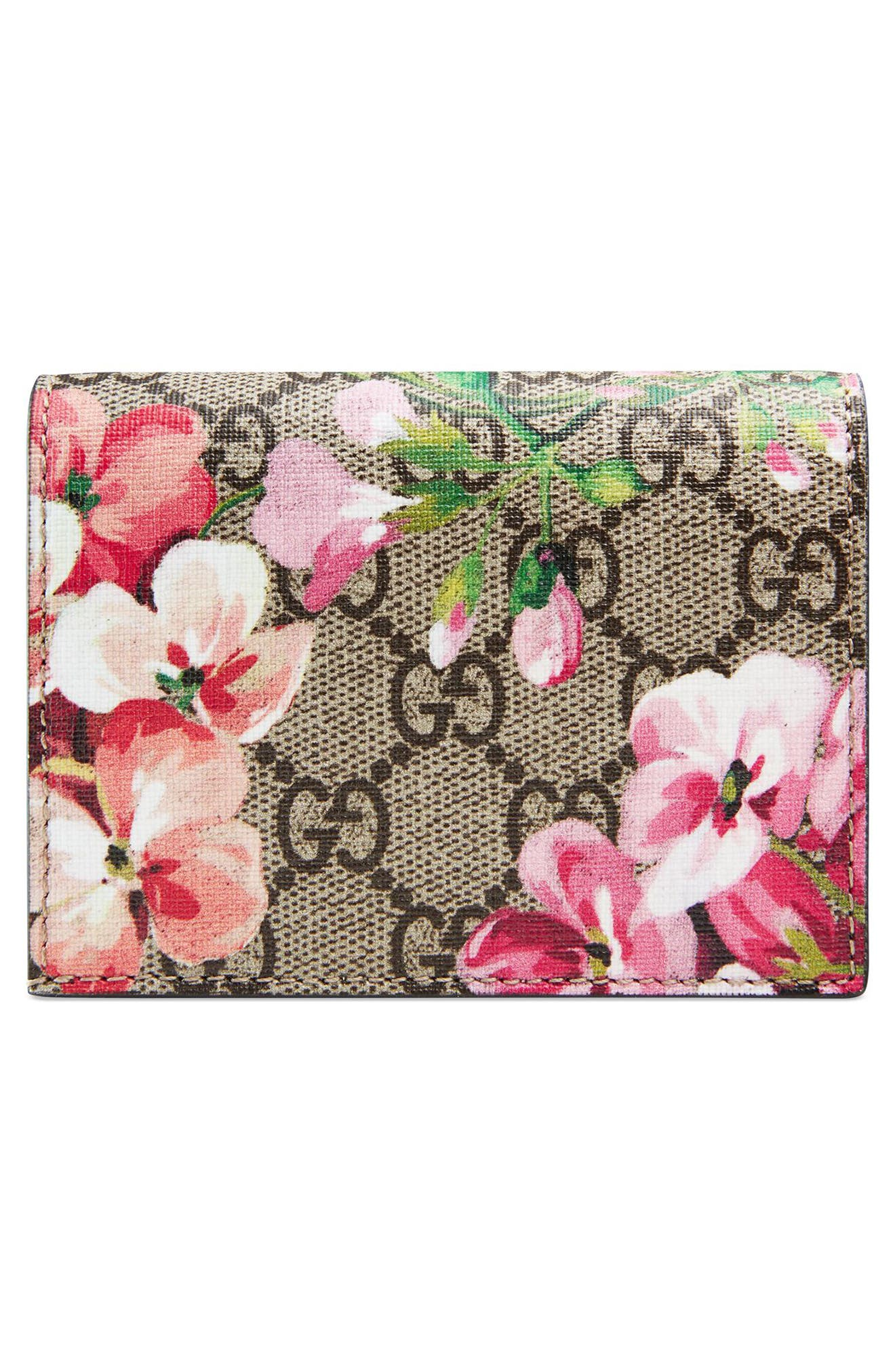 GG Blooms Canvas Card Case,                             Alternate thumbnail 3, color,                             468
