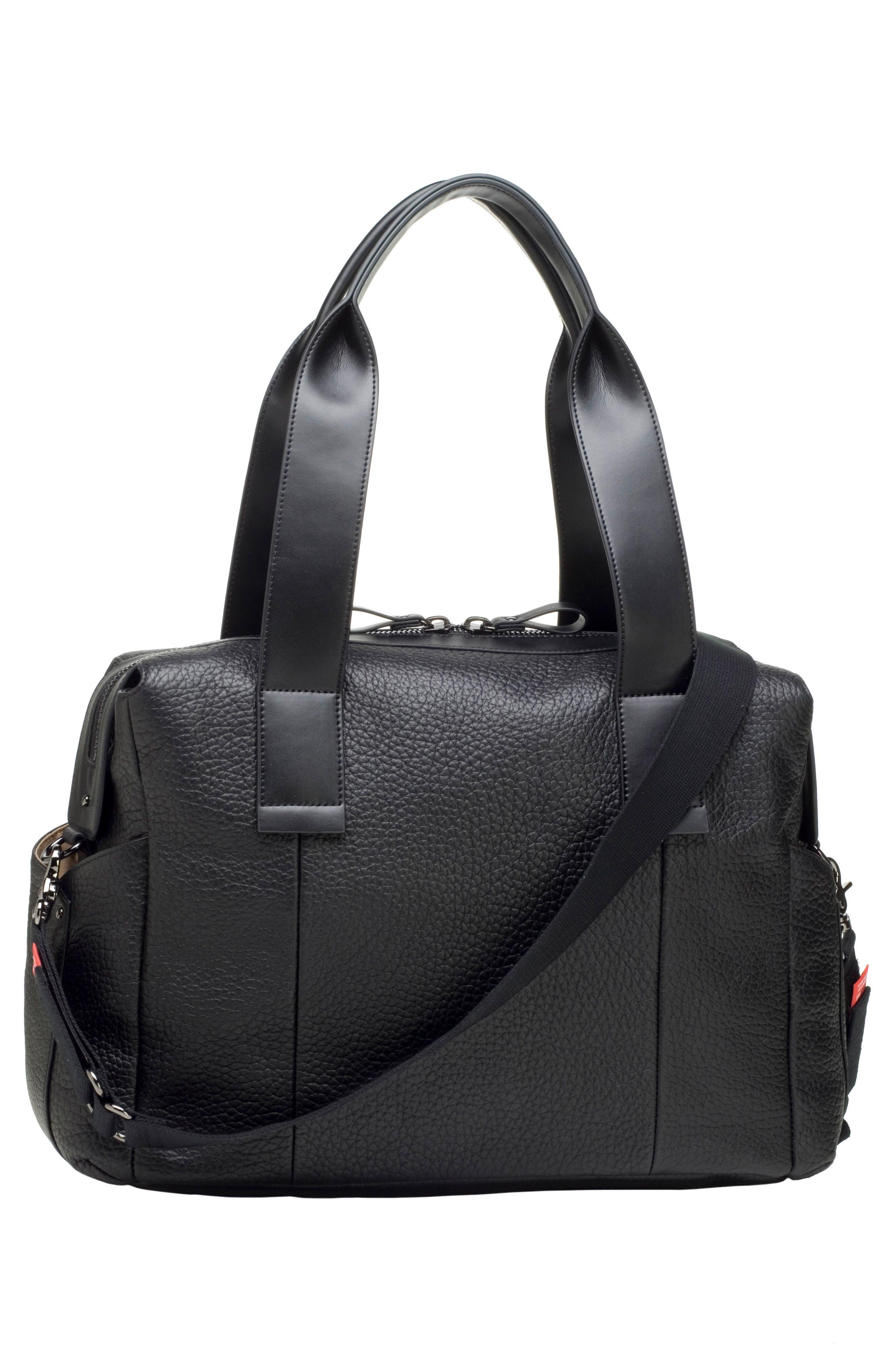 Kym Calfskin Leather Diaper Tote Bag,                             Alternate thumbnail 4, color,                             BLACK