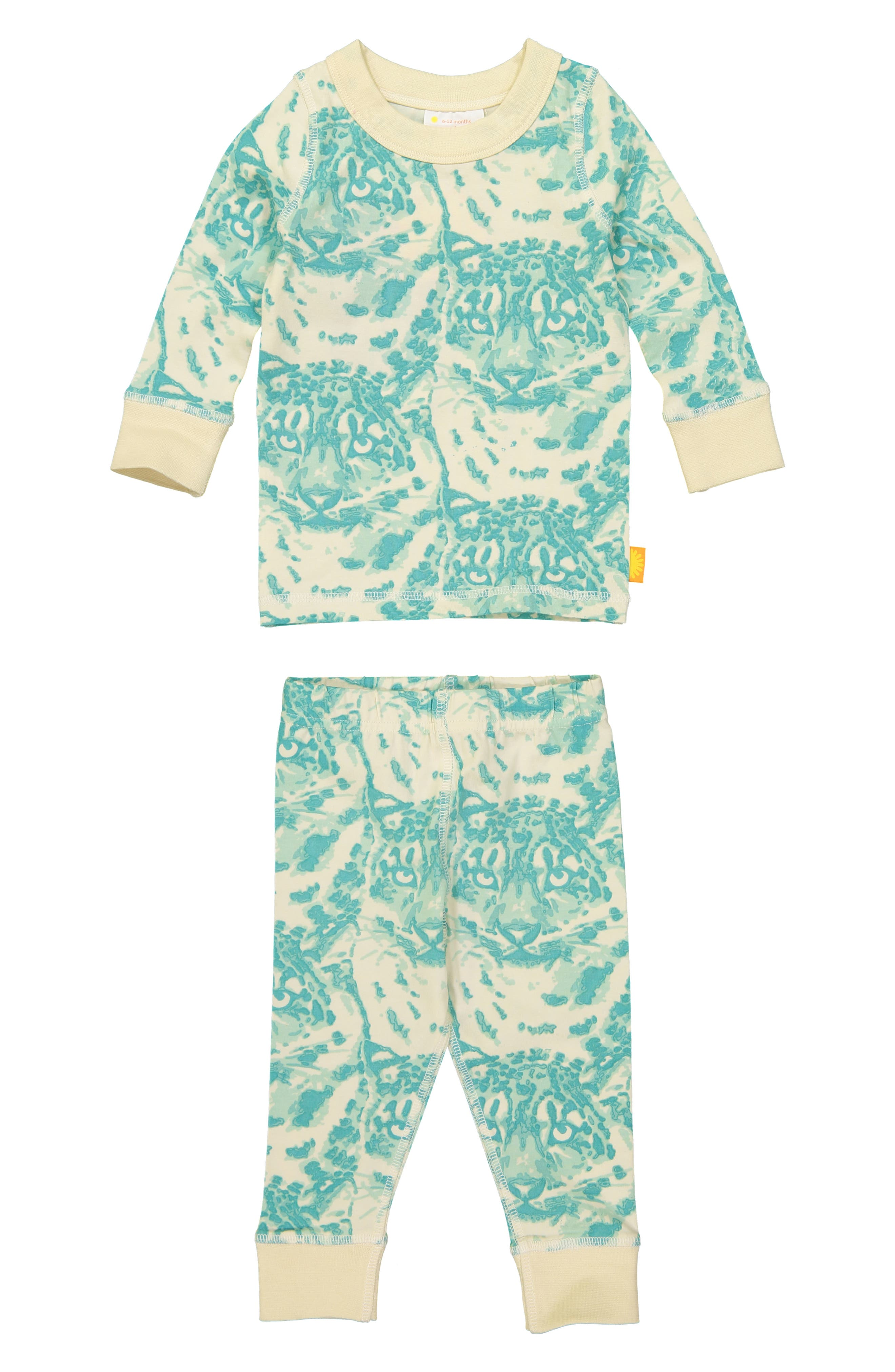 Cat Camo Organic Cotton Fitted Two-Piece Pajamas,                             Main thumbnail 1, color,                             AQUA