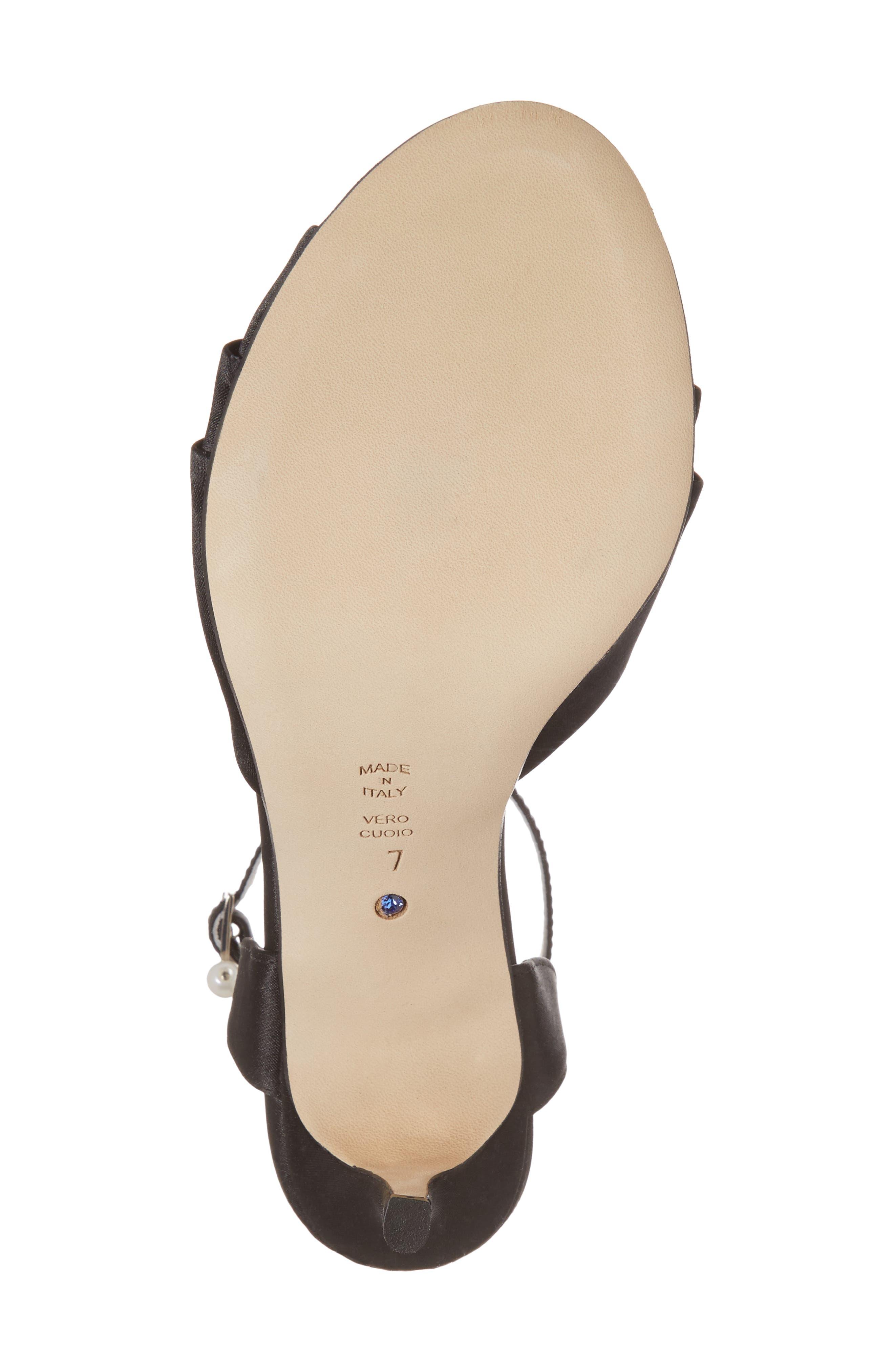 Godiva Imitation Pearl Buckle Sandal,                             Alternate thumbnail 6, color,                             BLACK SATIN