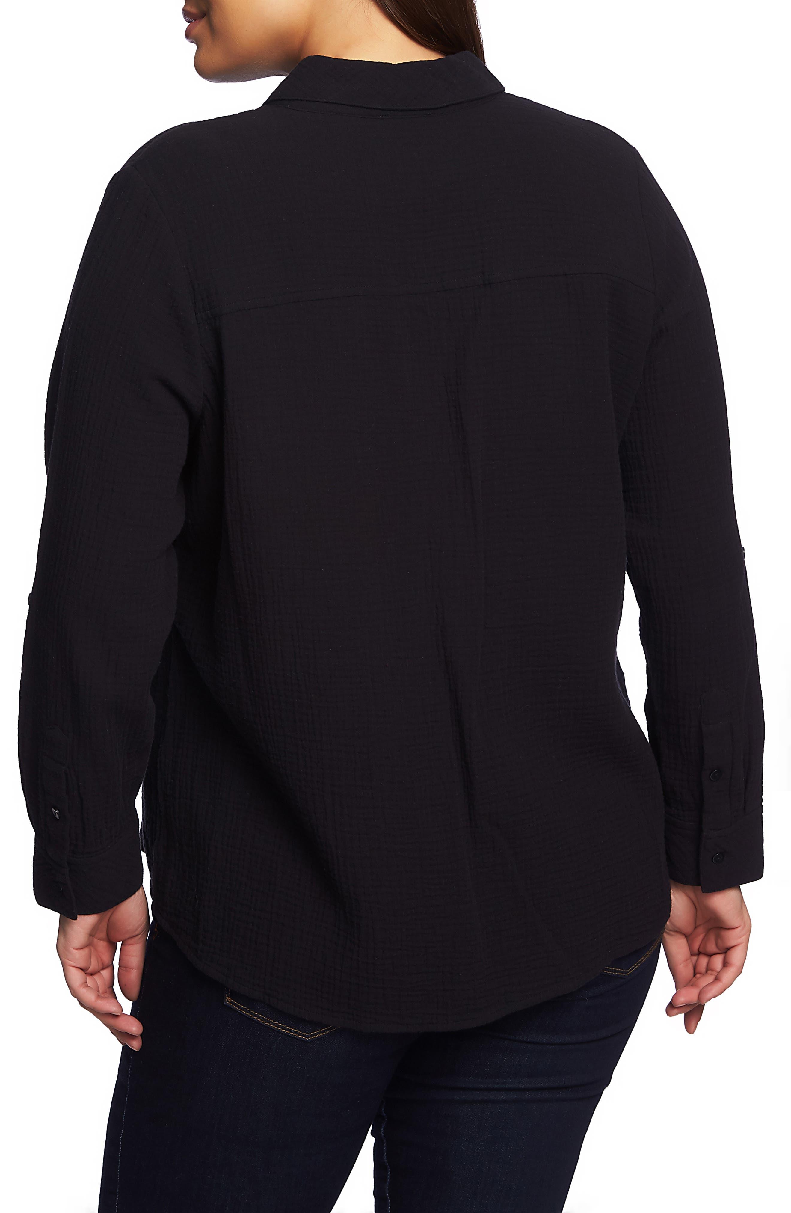 1.STATE,                             Double Gauze Shirt,                             Alternate thumbnail 2, color,                             RICH BLACK