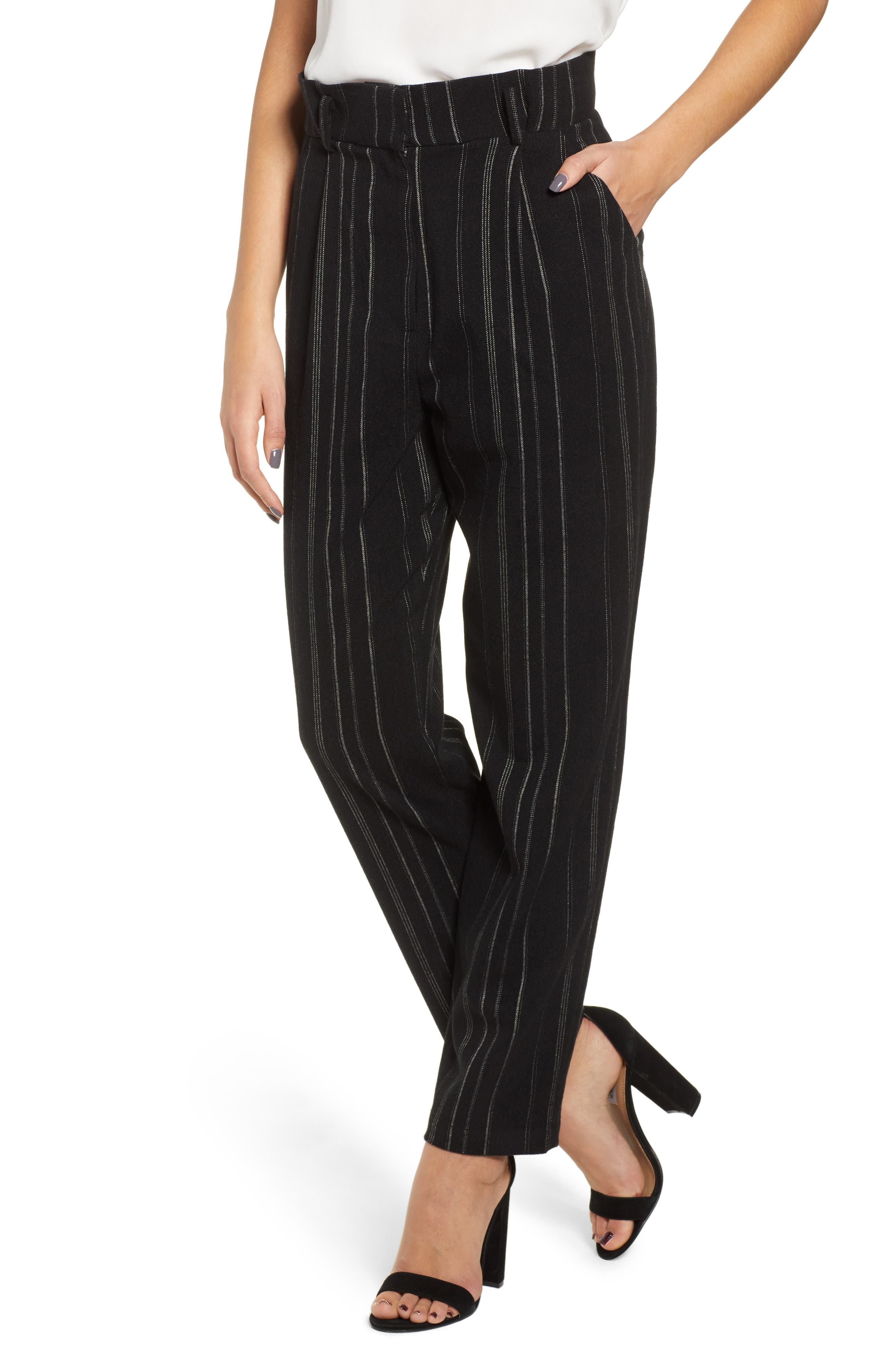 High Rise Belted Paperbag Pants,                         Main,                         color, BLACK MIXED STRIPE