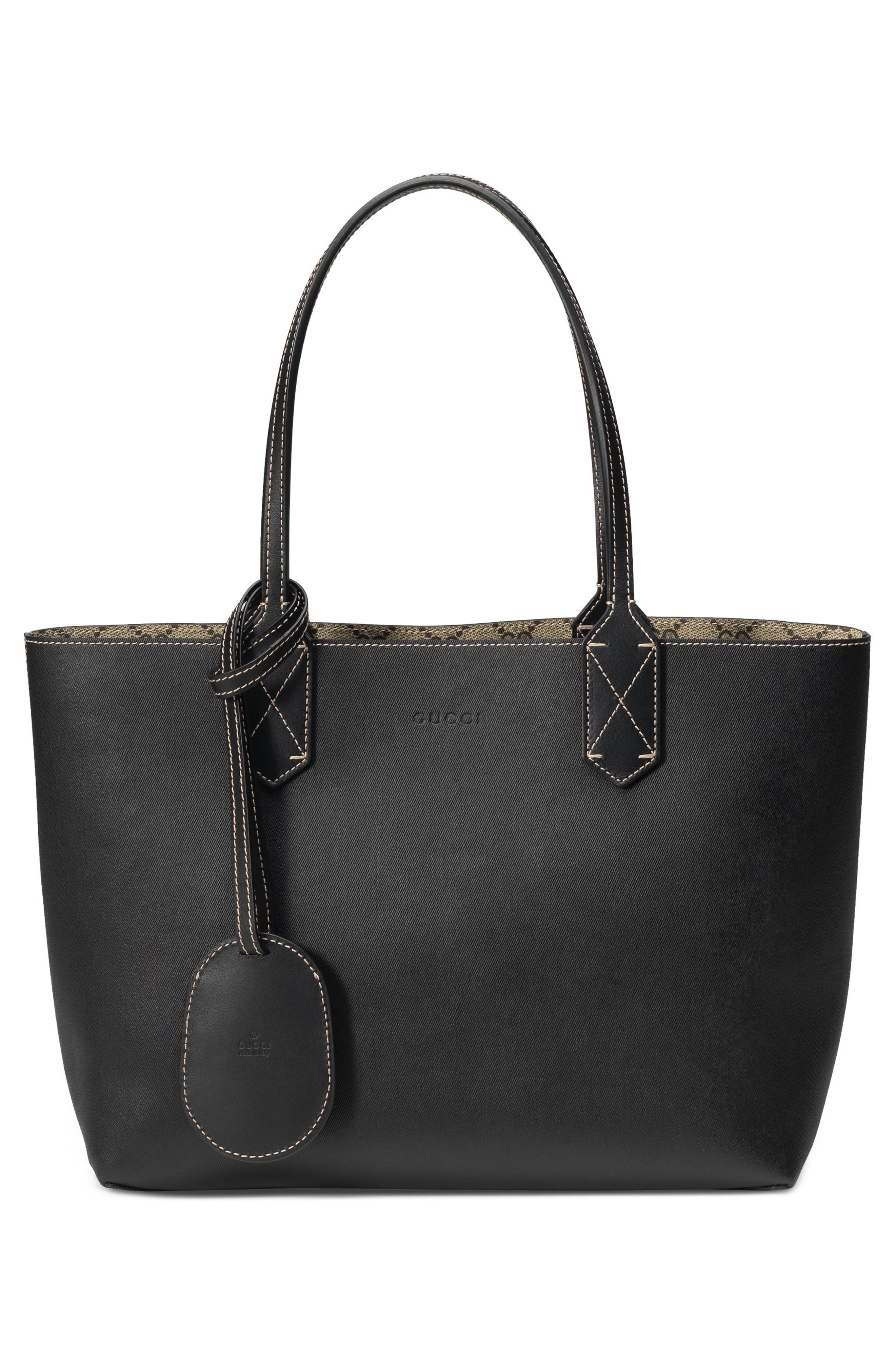 Small Turnaround Reversible Leather Tote,                             Alternate thumbnail 3, color,                             BEIGE EBONY/BLK