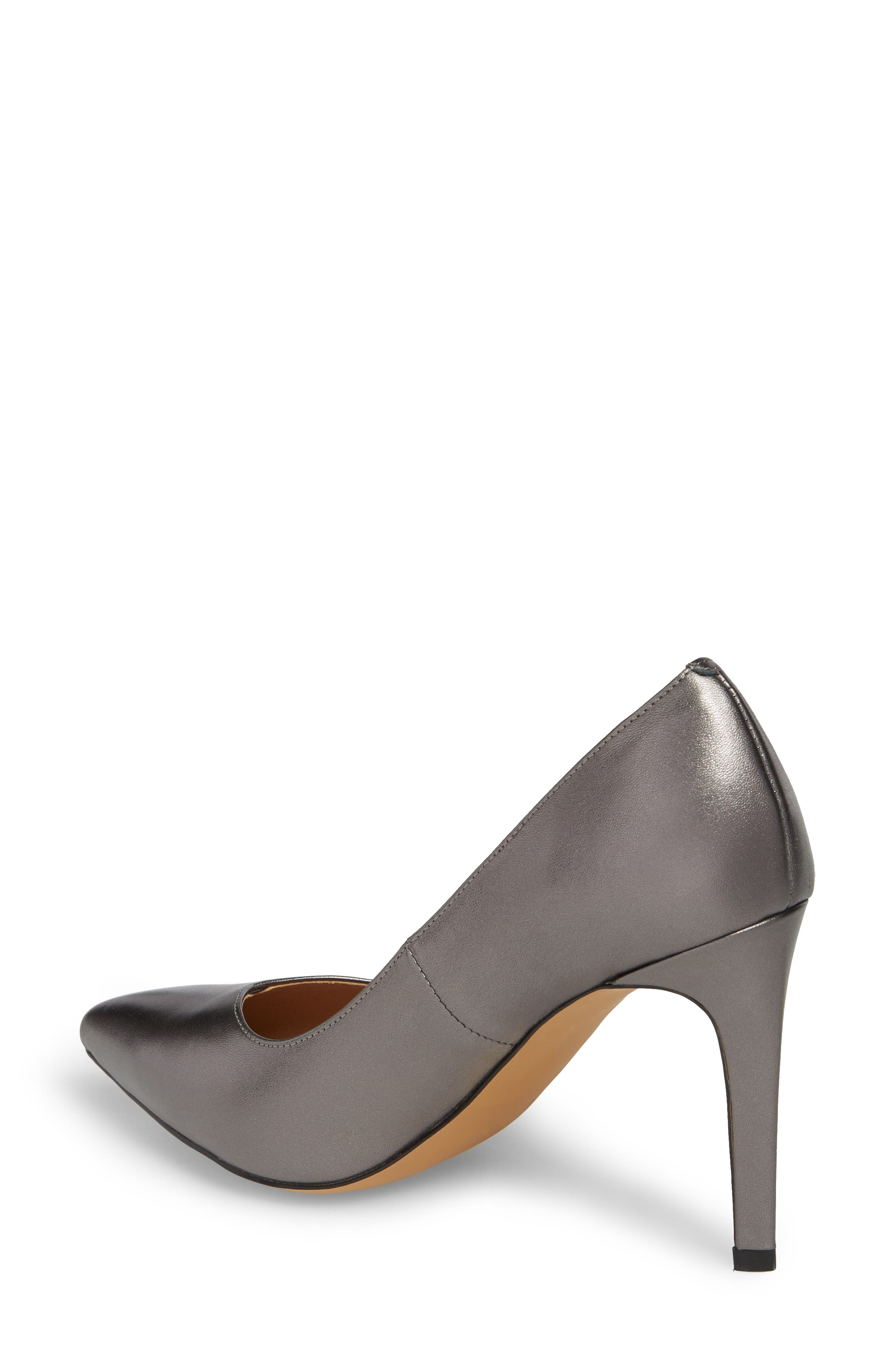 Palma Pointy Toe Pump,                             Alternate thumbnail 2, color,                             GUNMETAL LEATHER