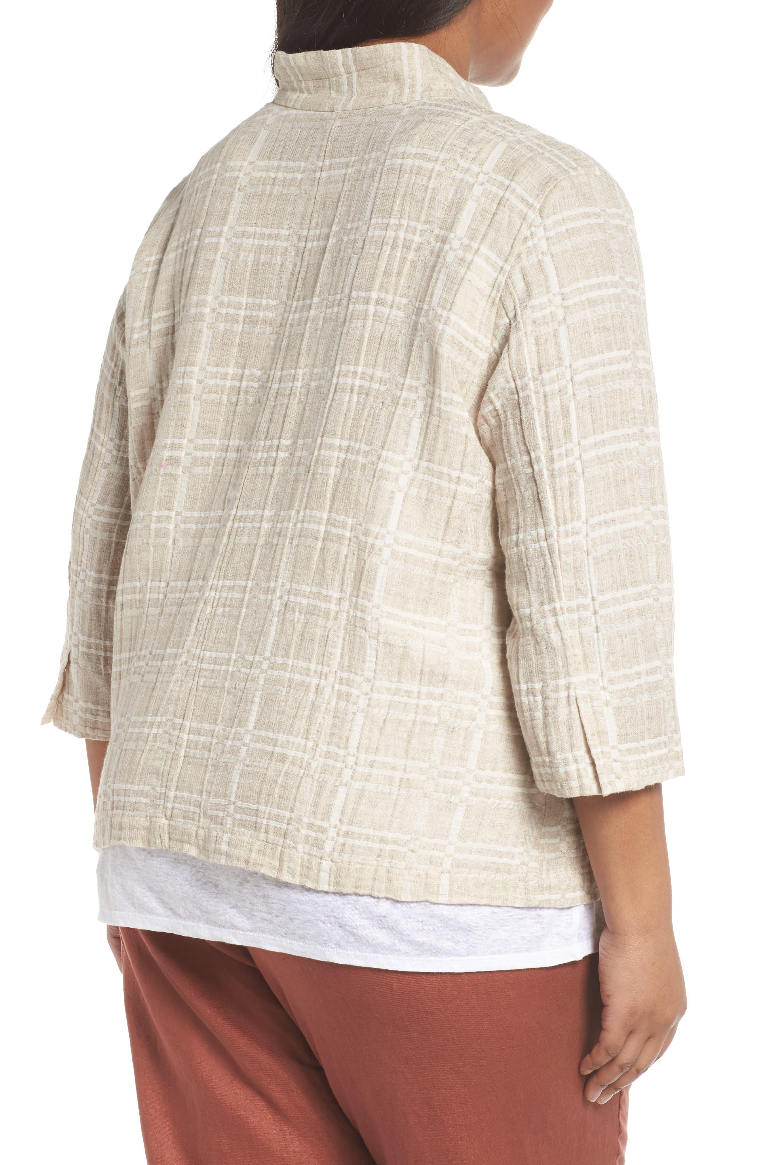 Check Organic Cotton & Linen Jacket,                             Alternate thumbnail 2, color,                             257