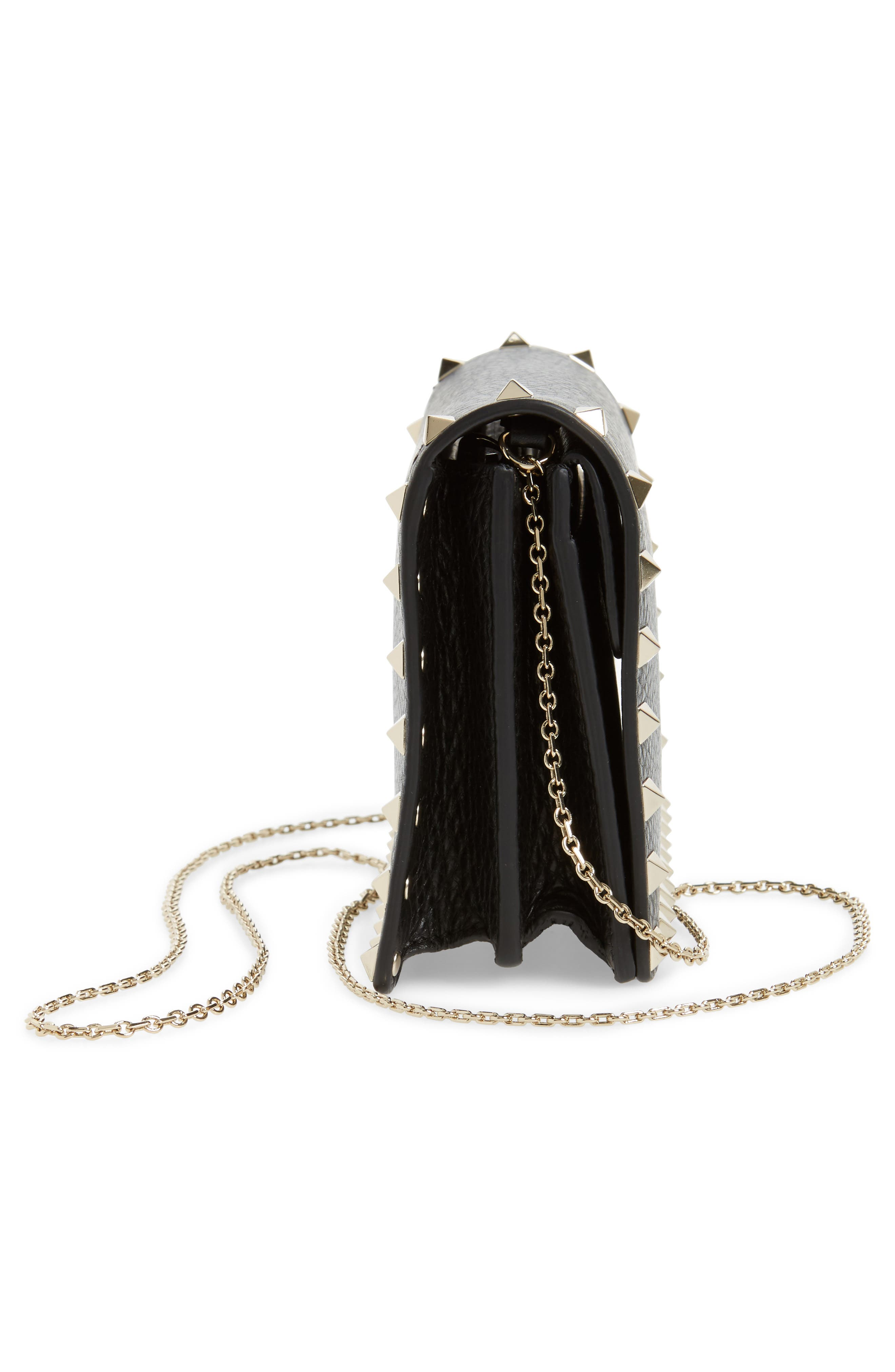 Rockstud Leather Pouch Wallet on a Chain,                             Alternate thumbnail 5, color,                             BLACK
