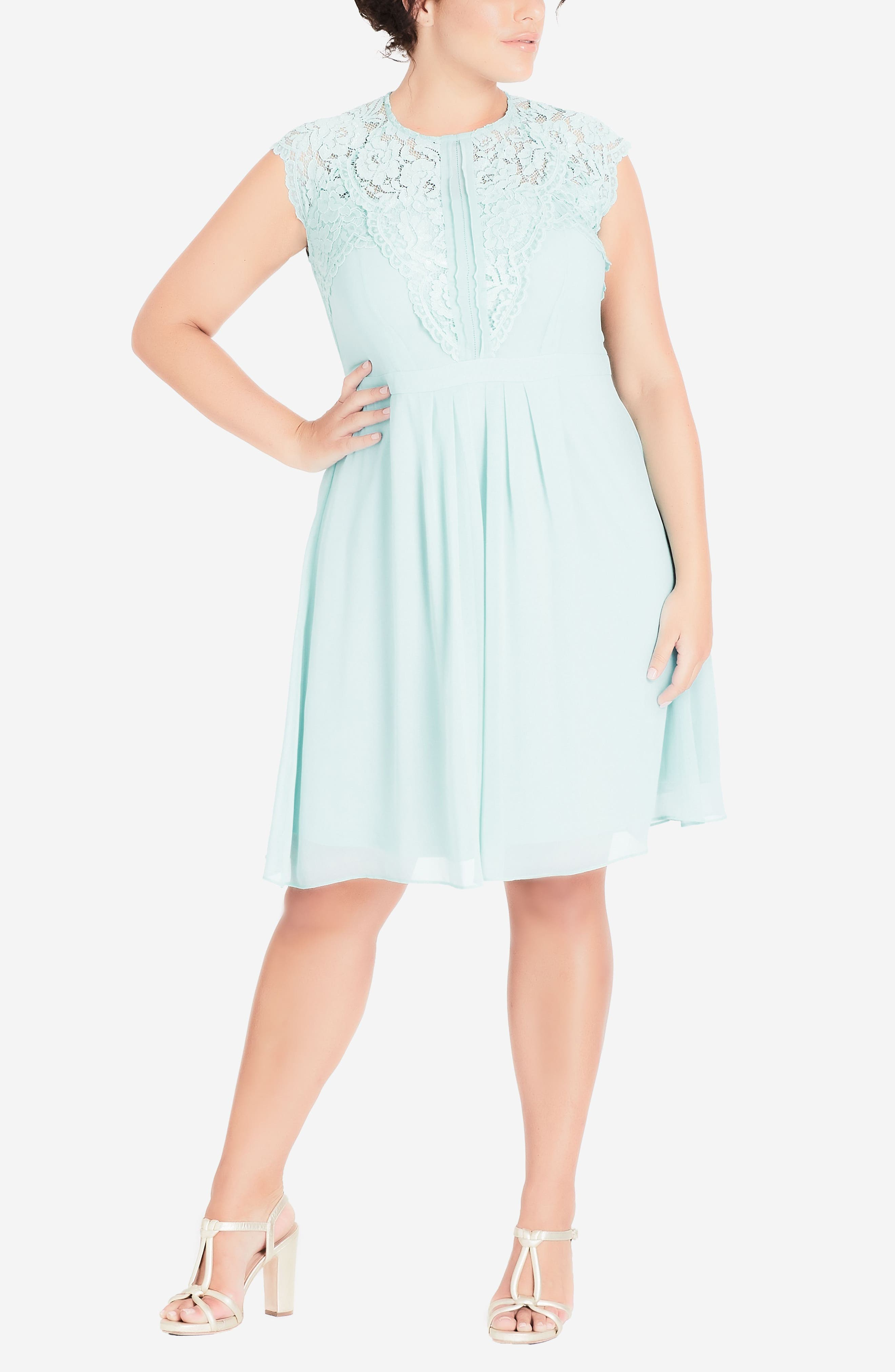 Lace & Chiffon Dress,                             Alternate thumbnail 3, color,                             MINT