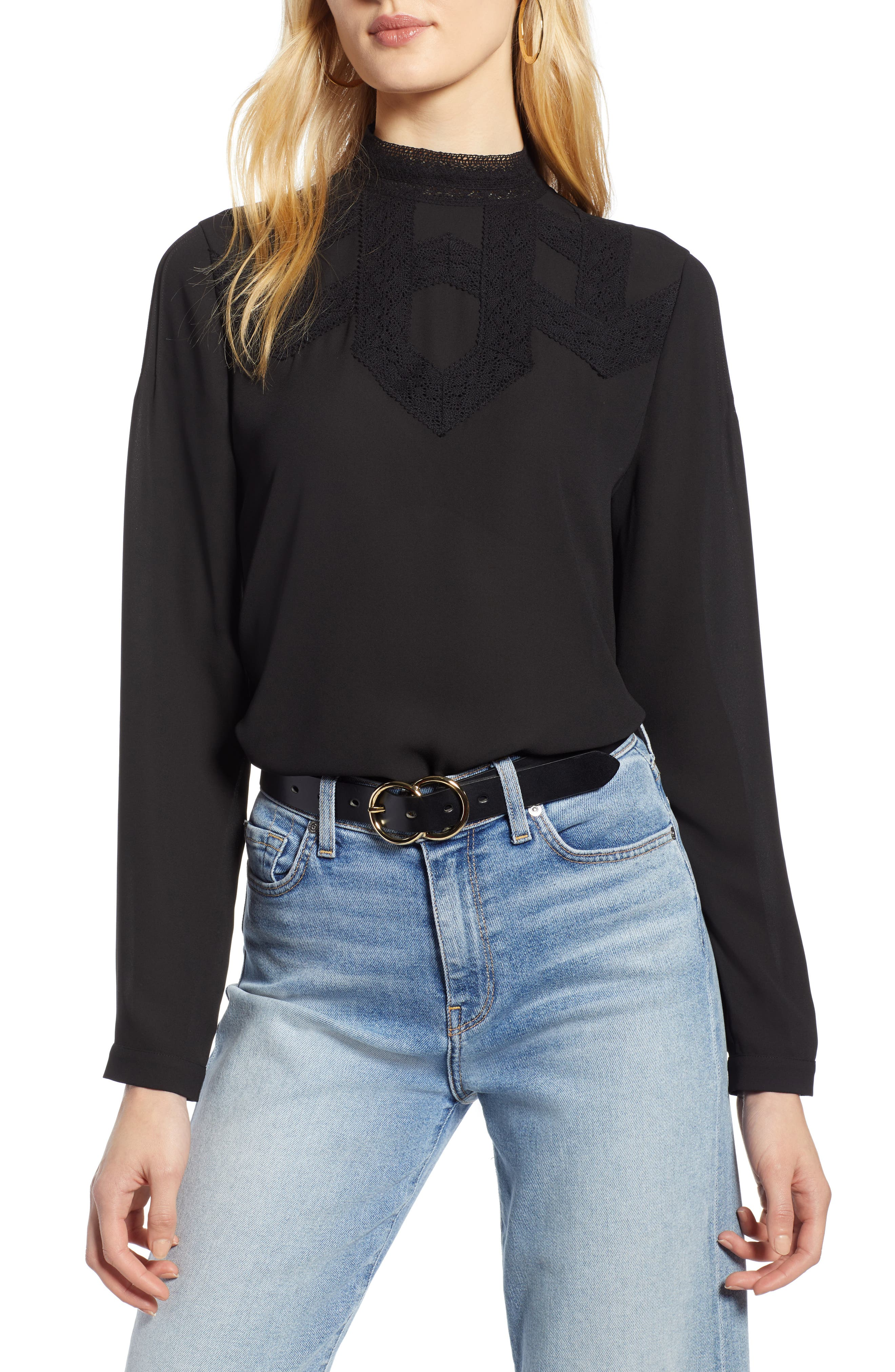 Edwardian Blouses   White & Black Lace Blouses & Sweaters Womens Halogen Lace Detail Blouse Size Small - Black $79.00 AT vintagedancer.com