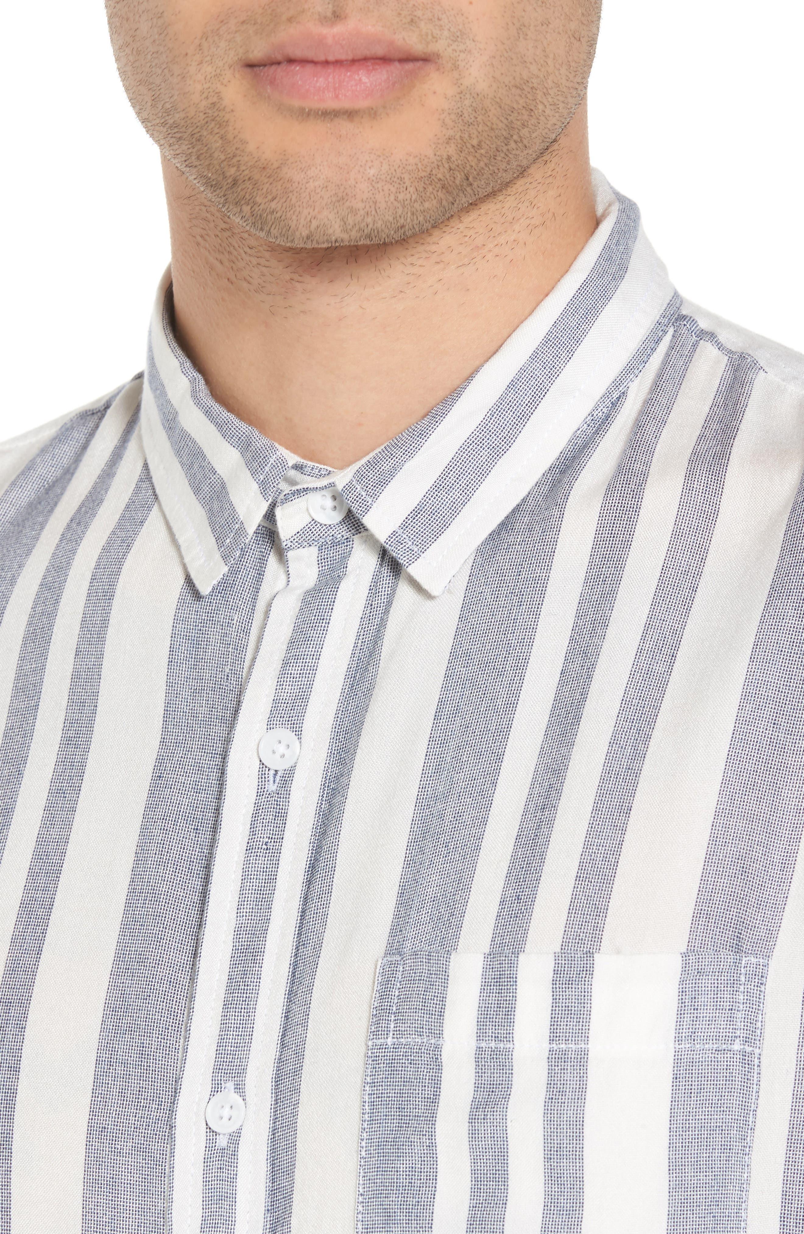 Stripe Woven Shirt,                             Alternate thumbnail 4, color,                             NAVY WHITE EOE STRIPE