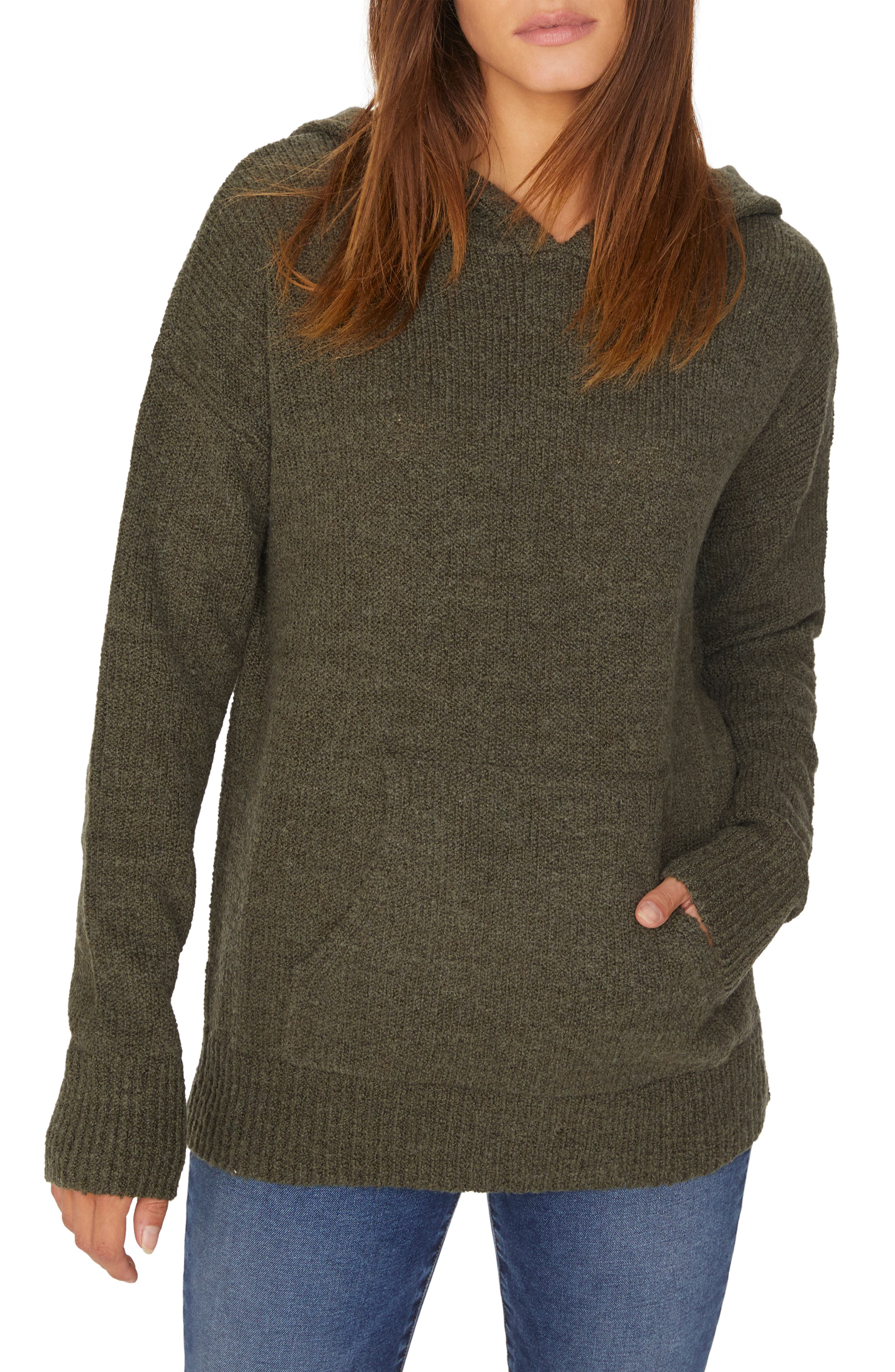 Sunday Morning Wool Blend Sweater Hoodie,                         Main,                         color, HEATHER PROSPERITY GREEN