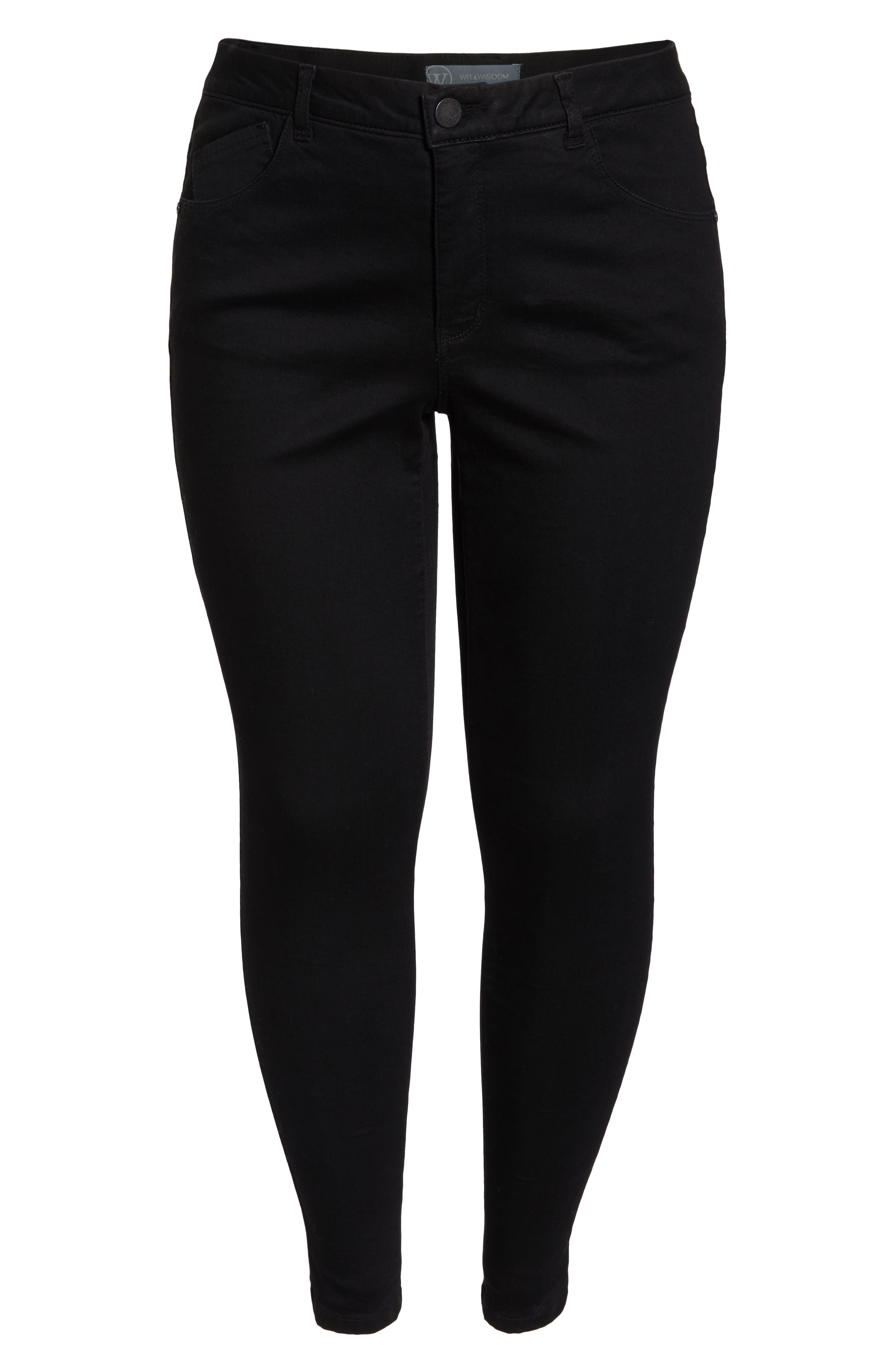 WIT & WISDOM, 30/11 Ab-solution High Waist Skinny Jeans, Alternate thumbnail 6, color, BLACK