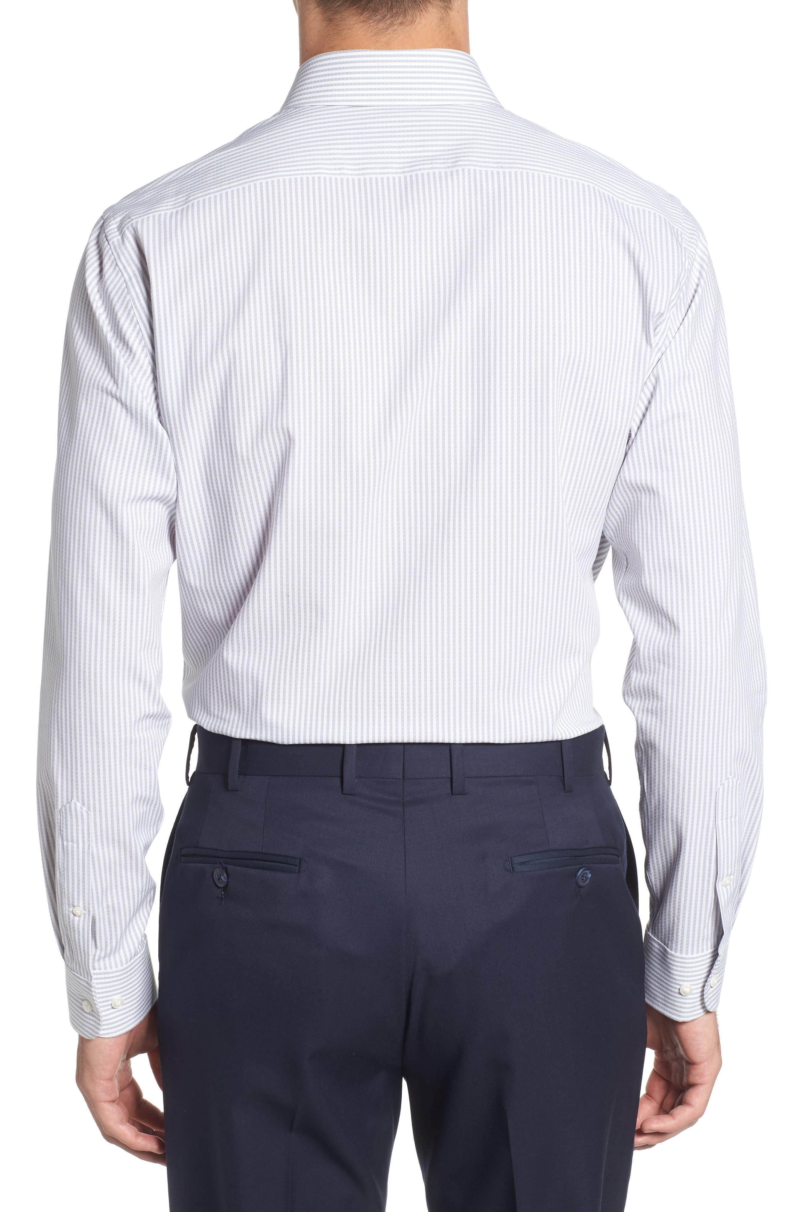 Tech-Smart Trim Fit Stripe Stretch Dress Shirt,                             Alternate thumbnail 3, color,                             050