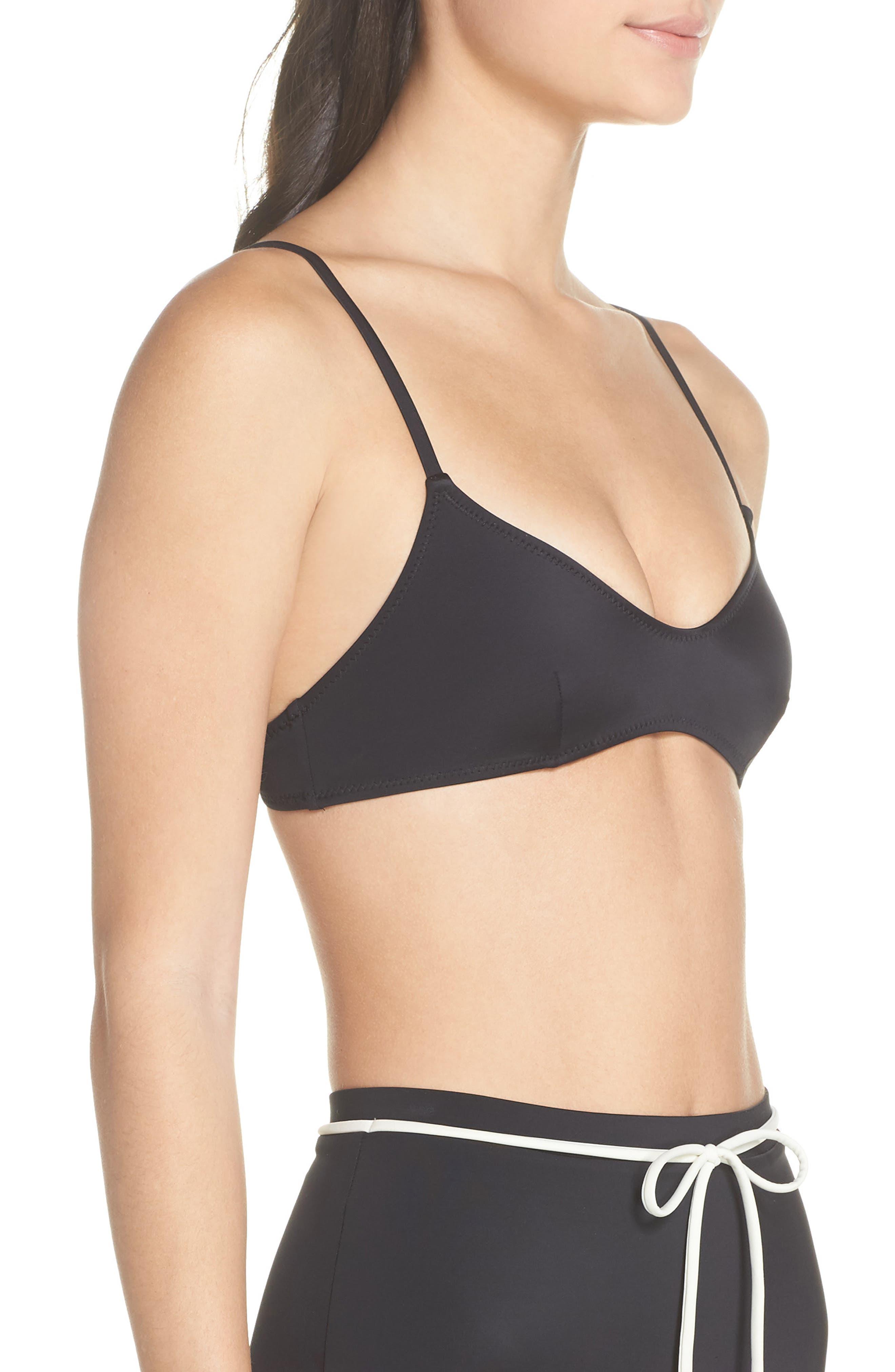 Cora Bikini Top,                             Alternate thumbnail 3, color,                             BLACK