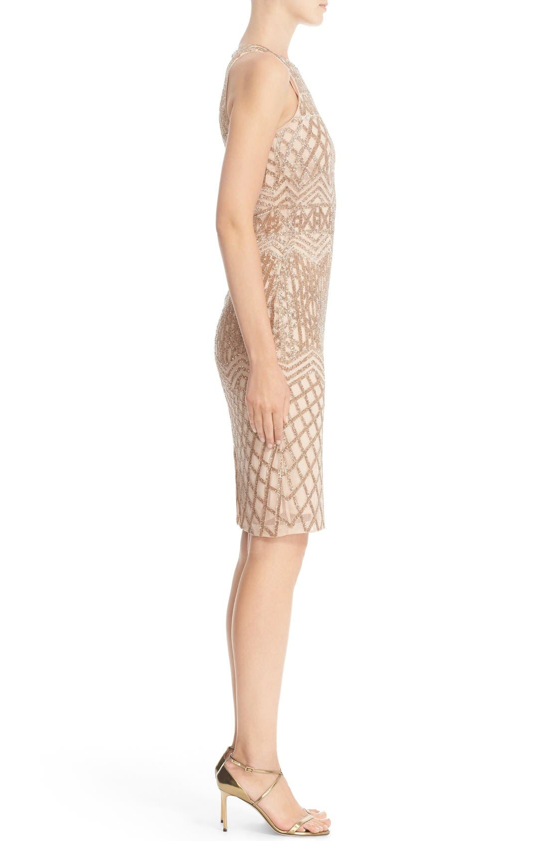 Beaded High Neck Sheath Dress,                             Alternate thumbnail 4, color,                             710