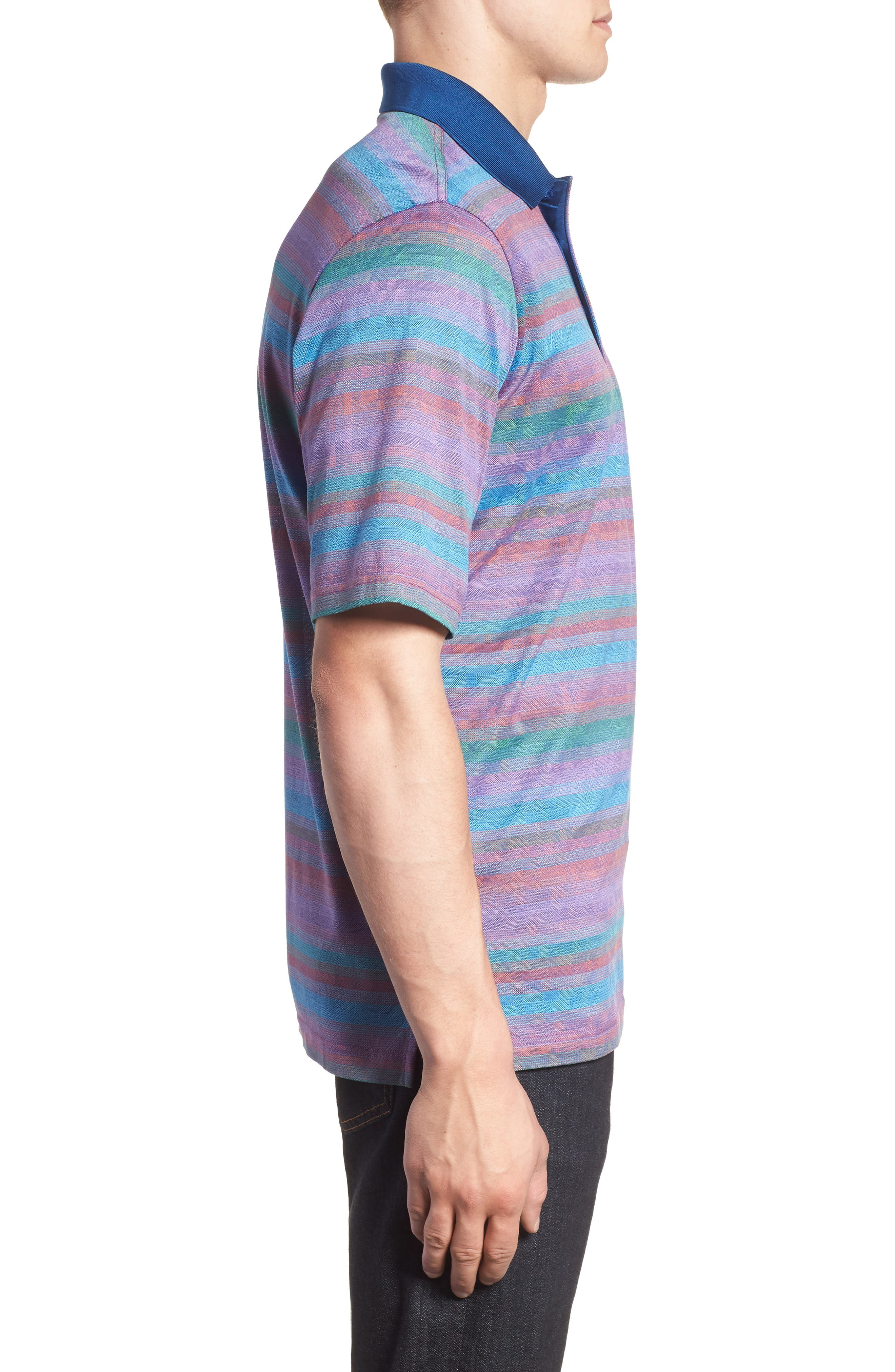 Stripe Mercerized Cotton Polo,                             Alternate thumbnail 3, color,                             ORCHID