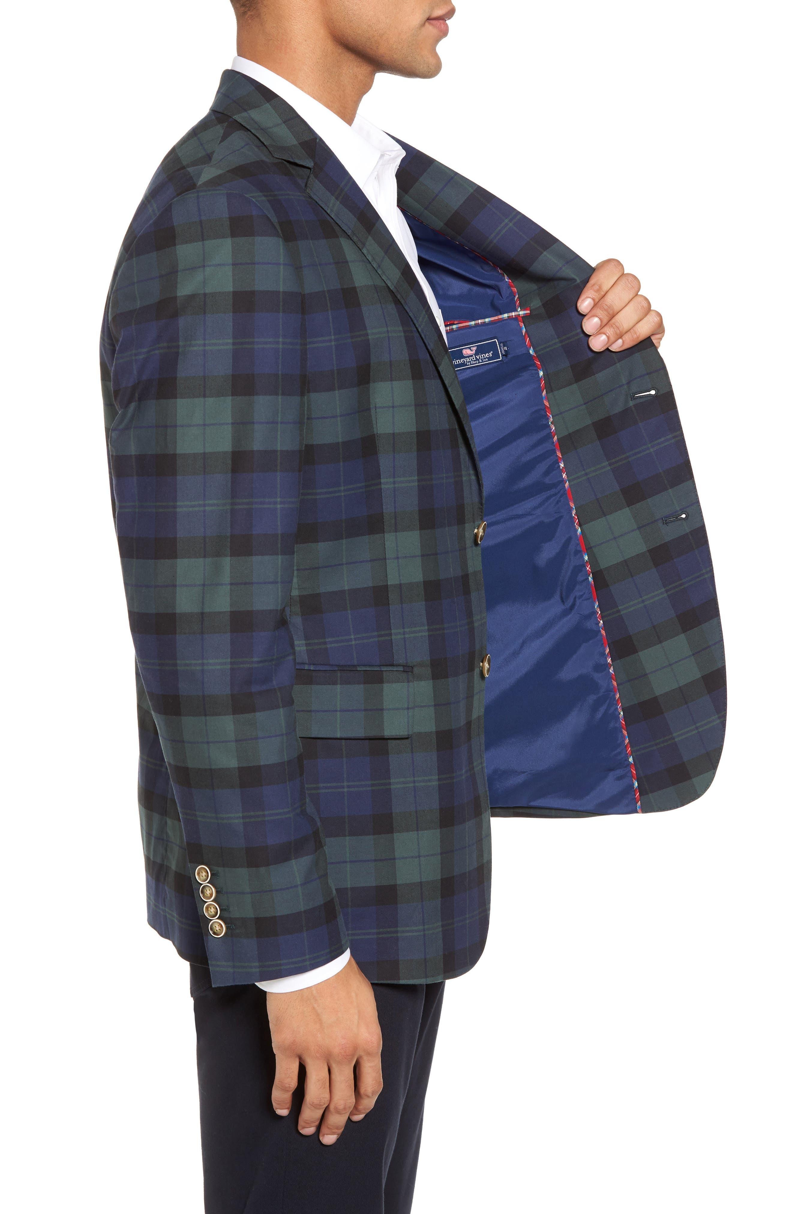 Classic Fit Blackwatch Plaid Sport Coat,                             Alternate thumbnail 3, color,                             404