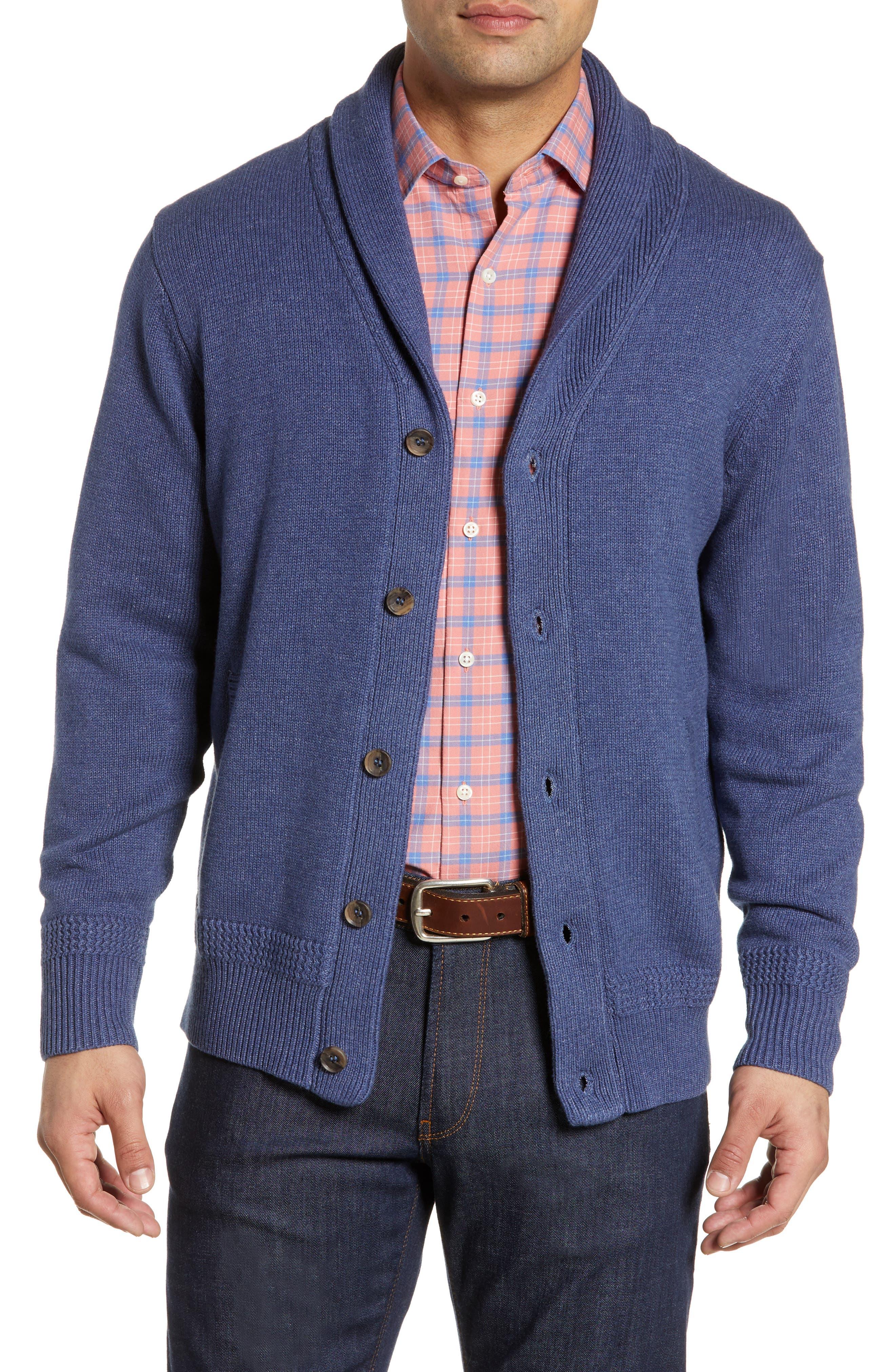Peter Millar Seaside Shawl Collar Cardigan, Blue