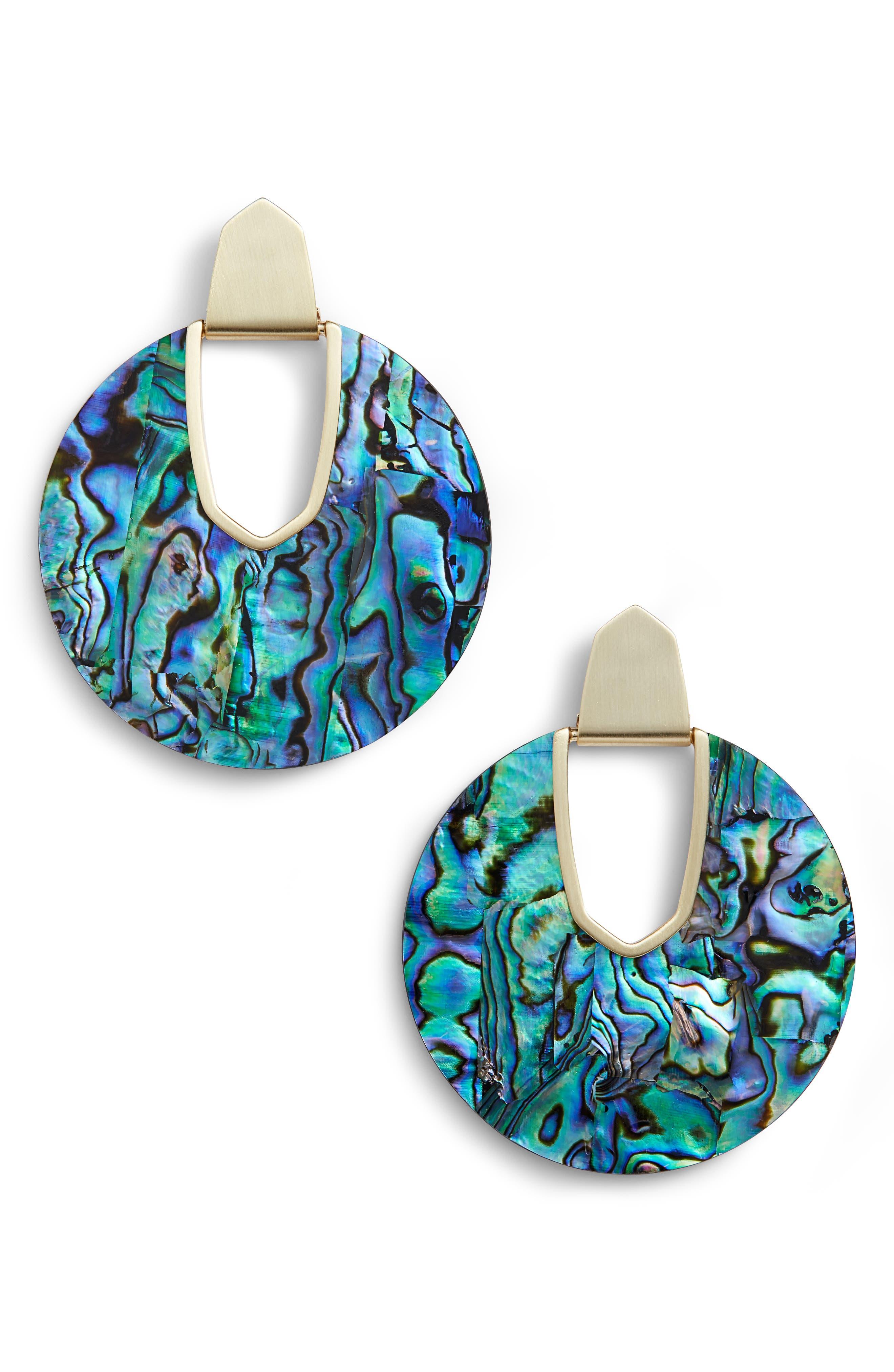 KENDRA SCOTT Diane Drop Earrings, Main, color, ABALONE SHELL/ GOLD
