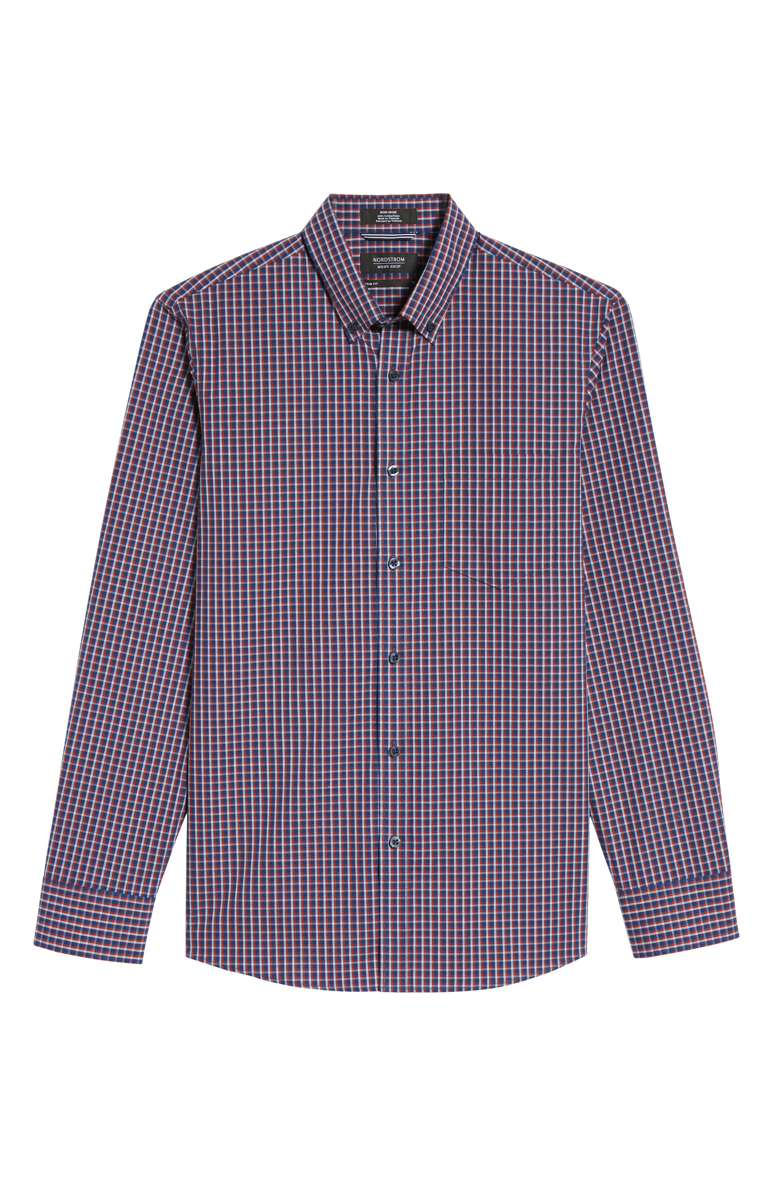 Slim Fit Non-Iron Mini Check Sport Shirt,                             Alternate thumbnail 6, color,                             420