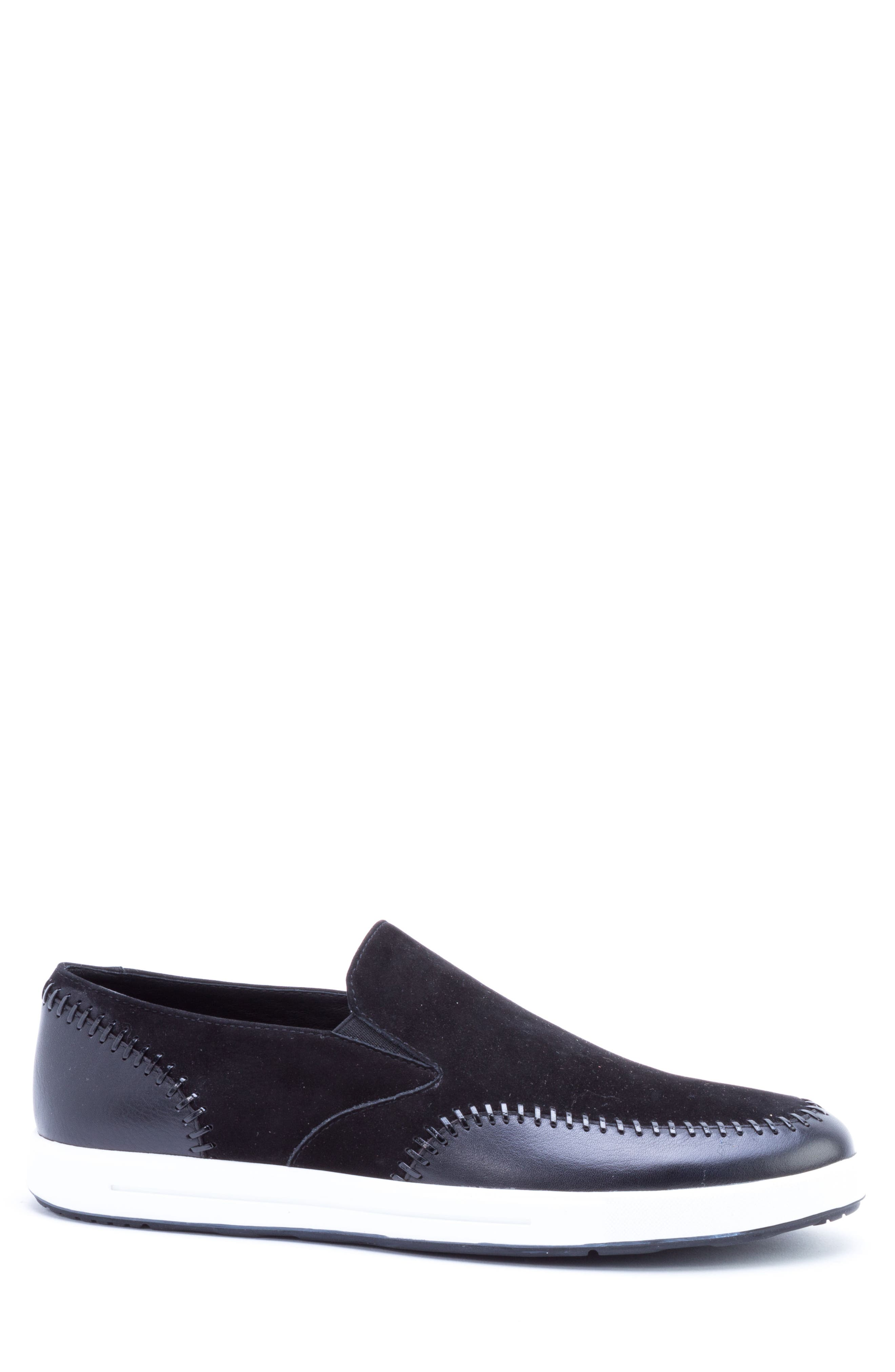 Caravaggio Whipstitched Slip-On Sneaker,                             Alternate thumbnail 3, color,                             BLACK SUEDE/ LEATHER