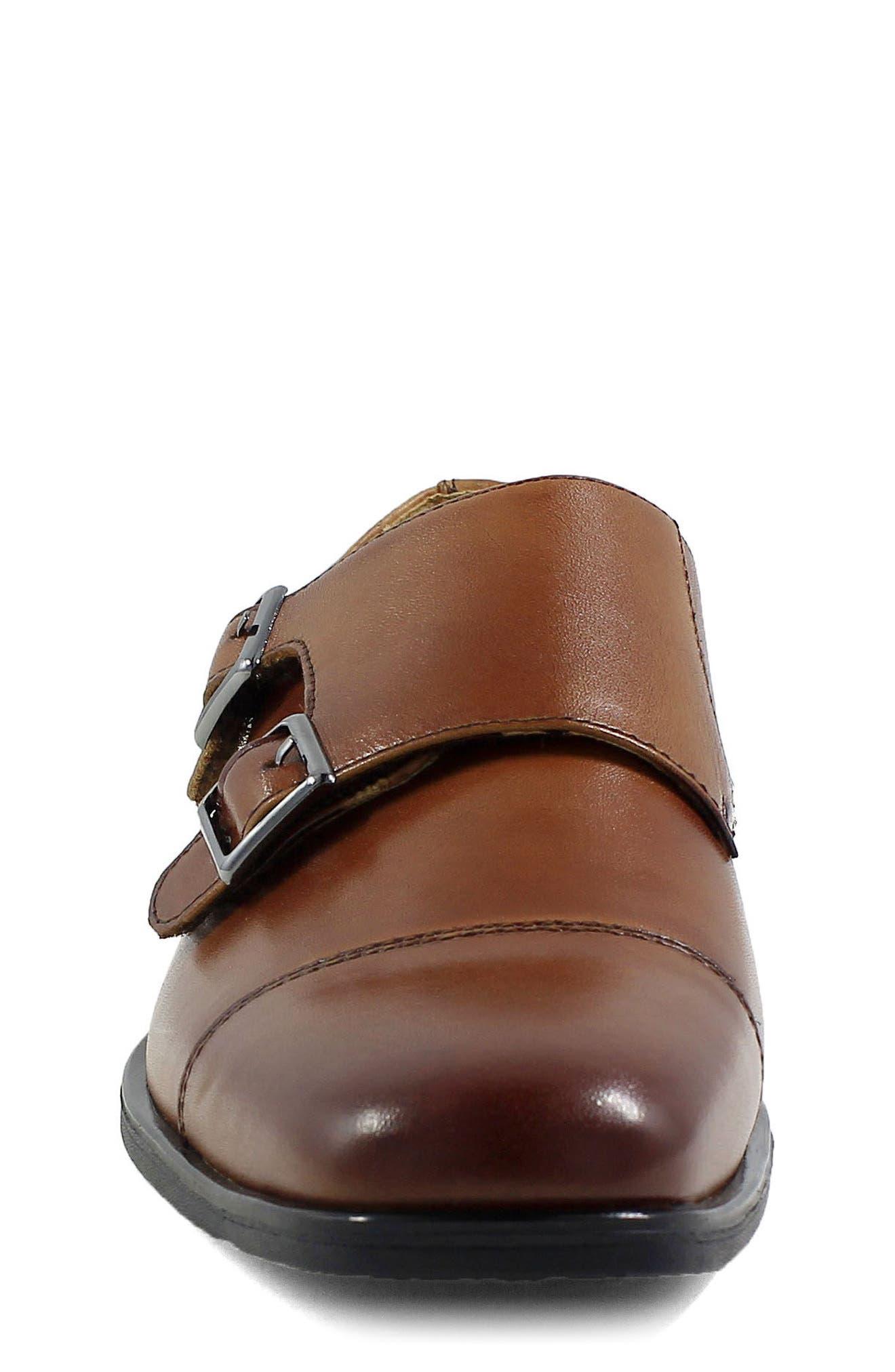 Reveal Double Monk Strap Shoe,                             Alternate thumbnail 4, color,                             COGNAC LEATHER