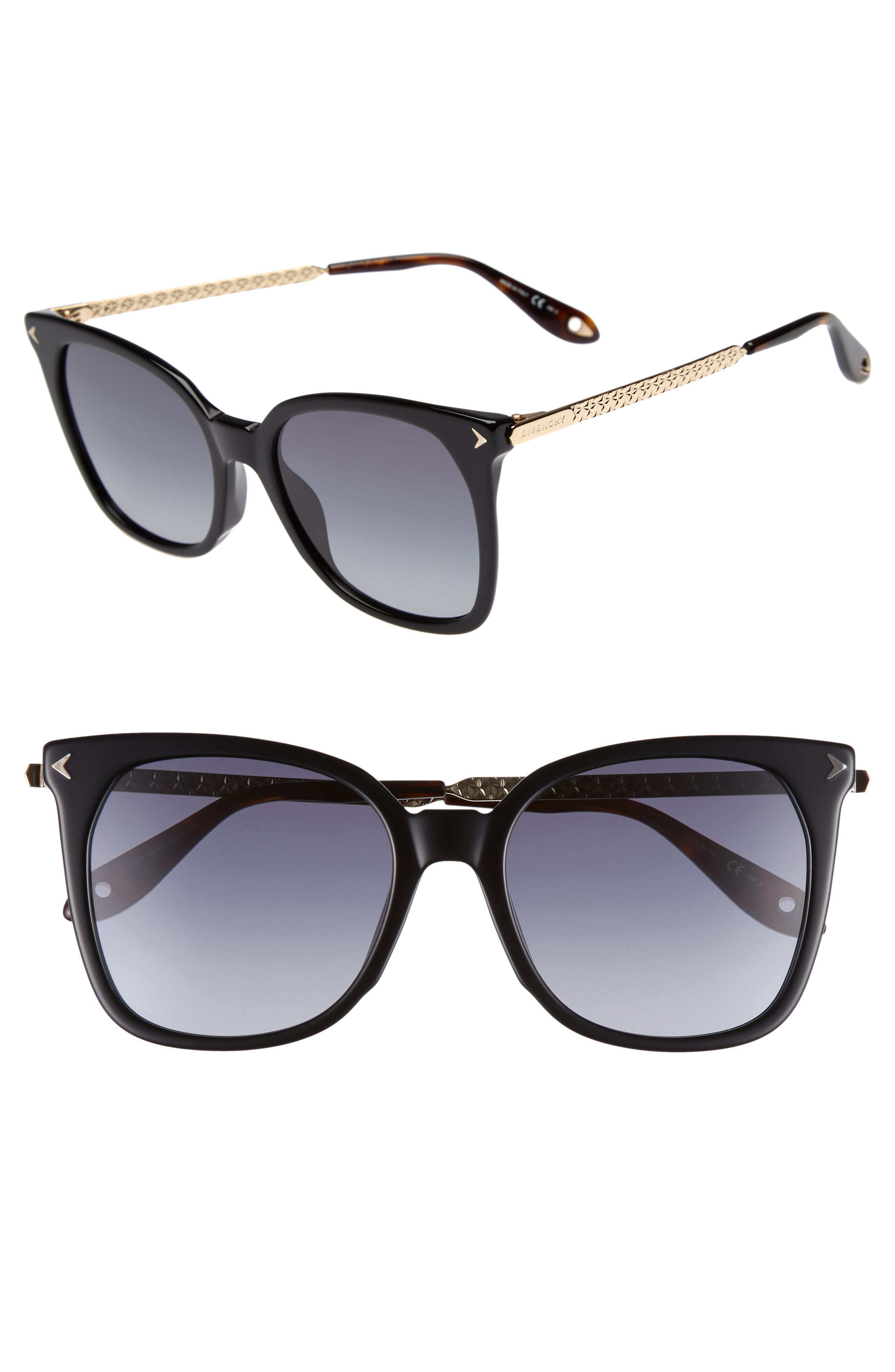 54mm Square Sunglasses,                             Main thumbnail 1, color,                             BLACK