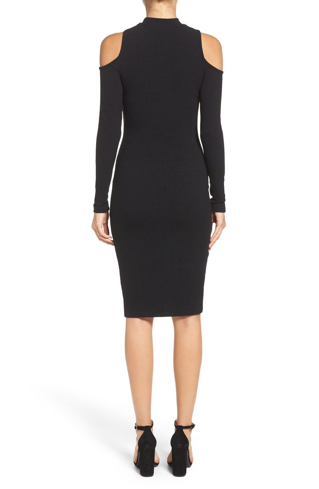 Body-Con Sweater Dress,                             Alternate thumbnail 6, color,                             001