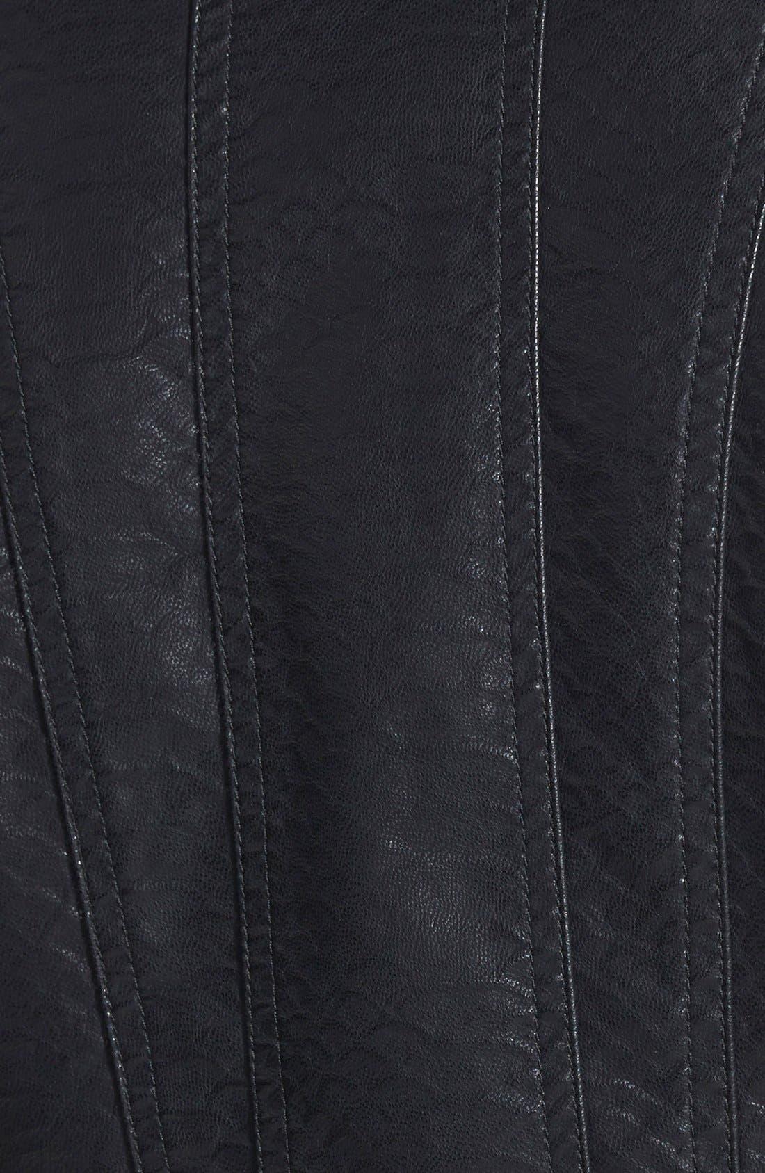 JOU JOU,                             Quilted Faux Leather Moto Jacket,                             Alternate thumbnail 3, color,                             001