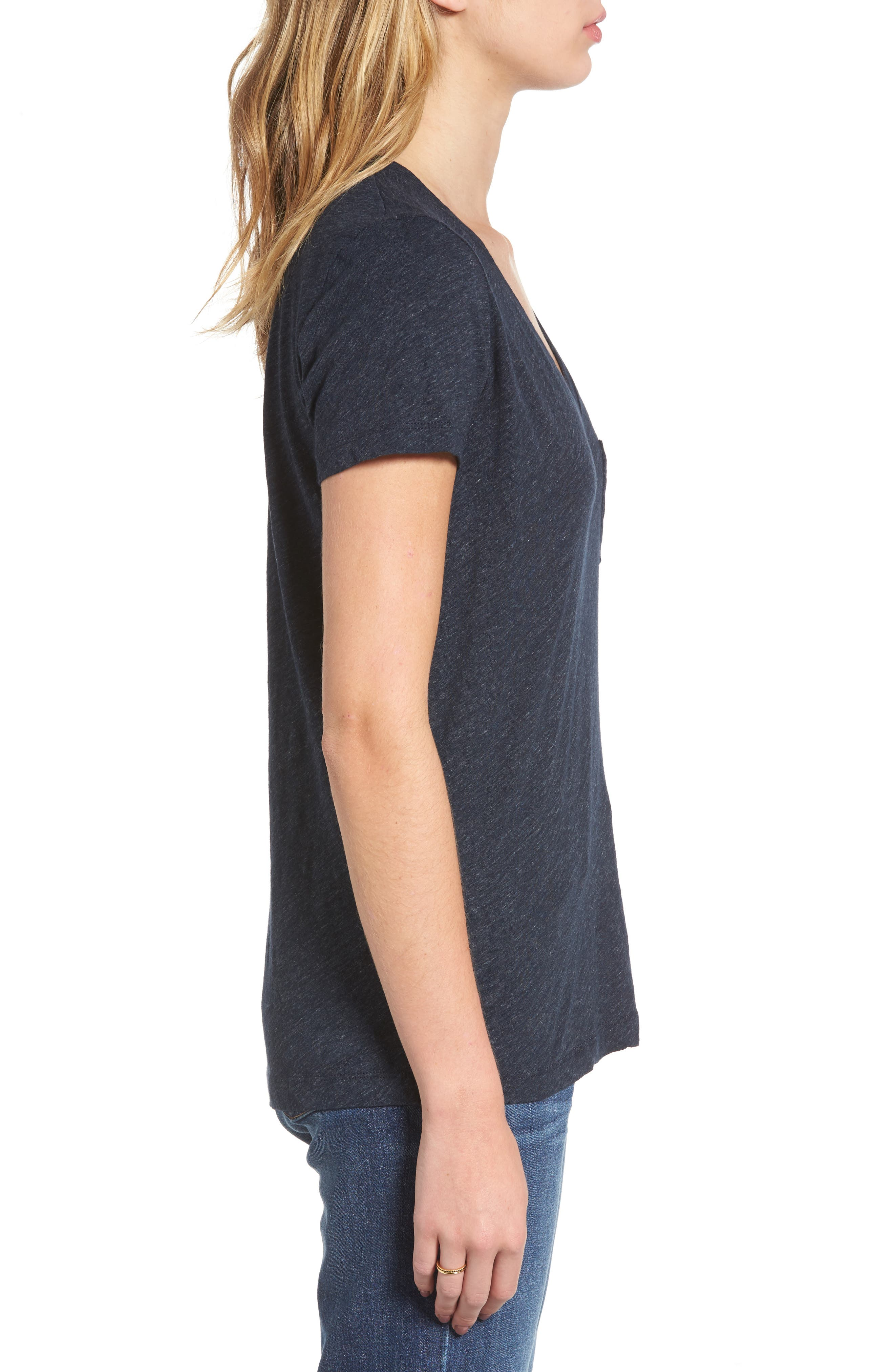Whisper Cotton V-Neck Pocket Tee,                             Alternate thumbnail 132, color,