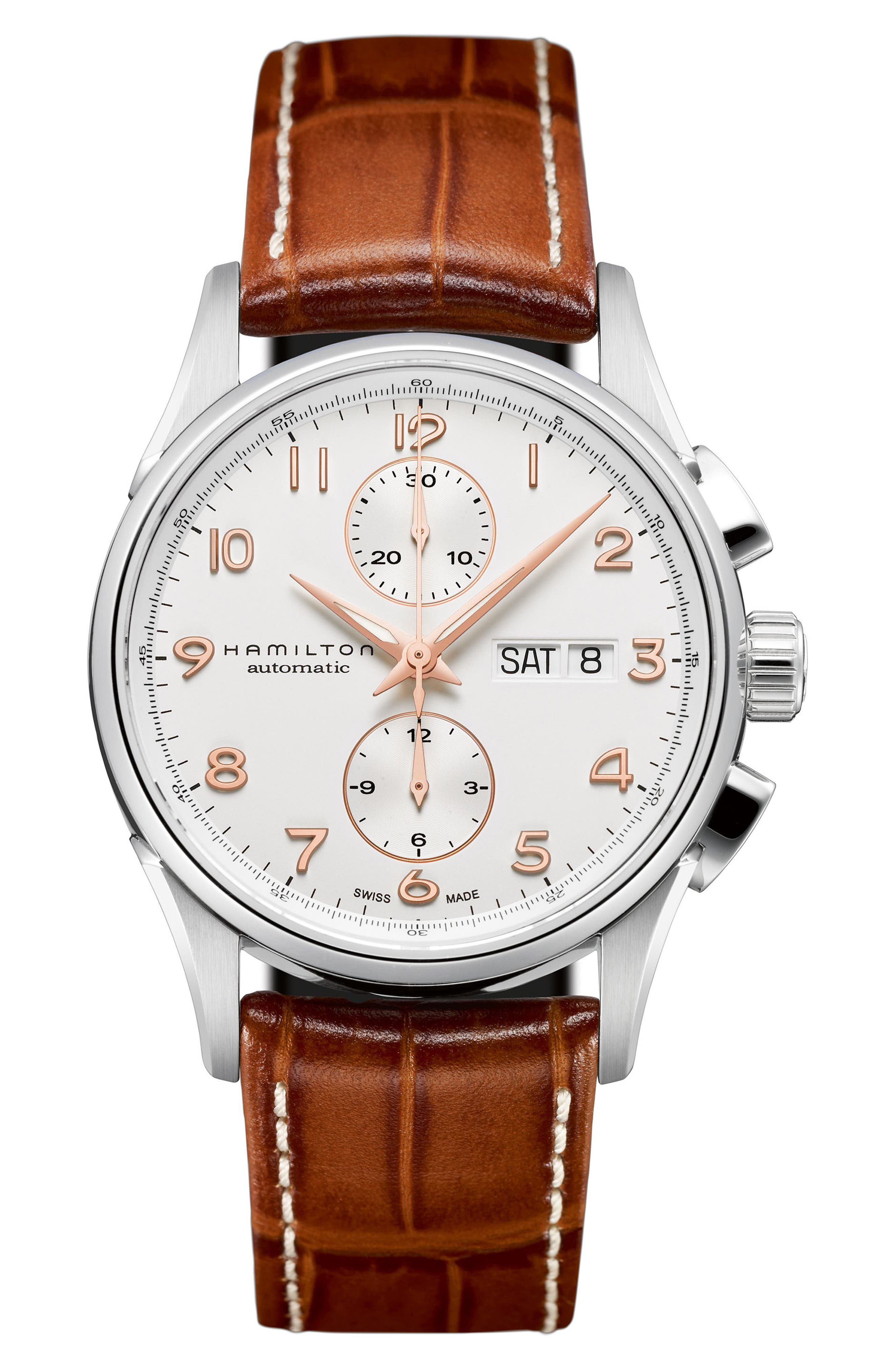 Jazzmaster Maestro Automatic Chronograph Leather Strap Watch, 41mm,                         Main,                         color, 200