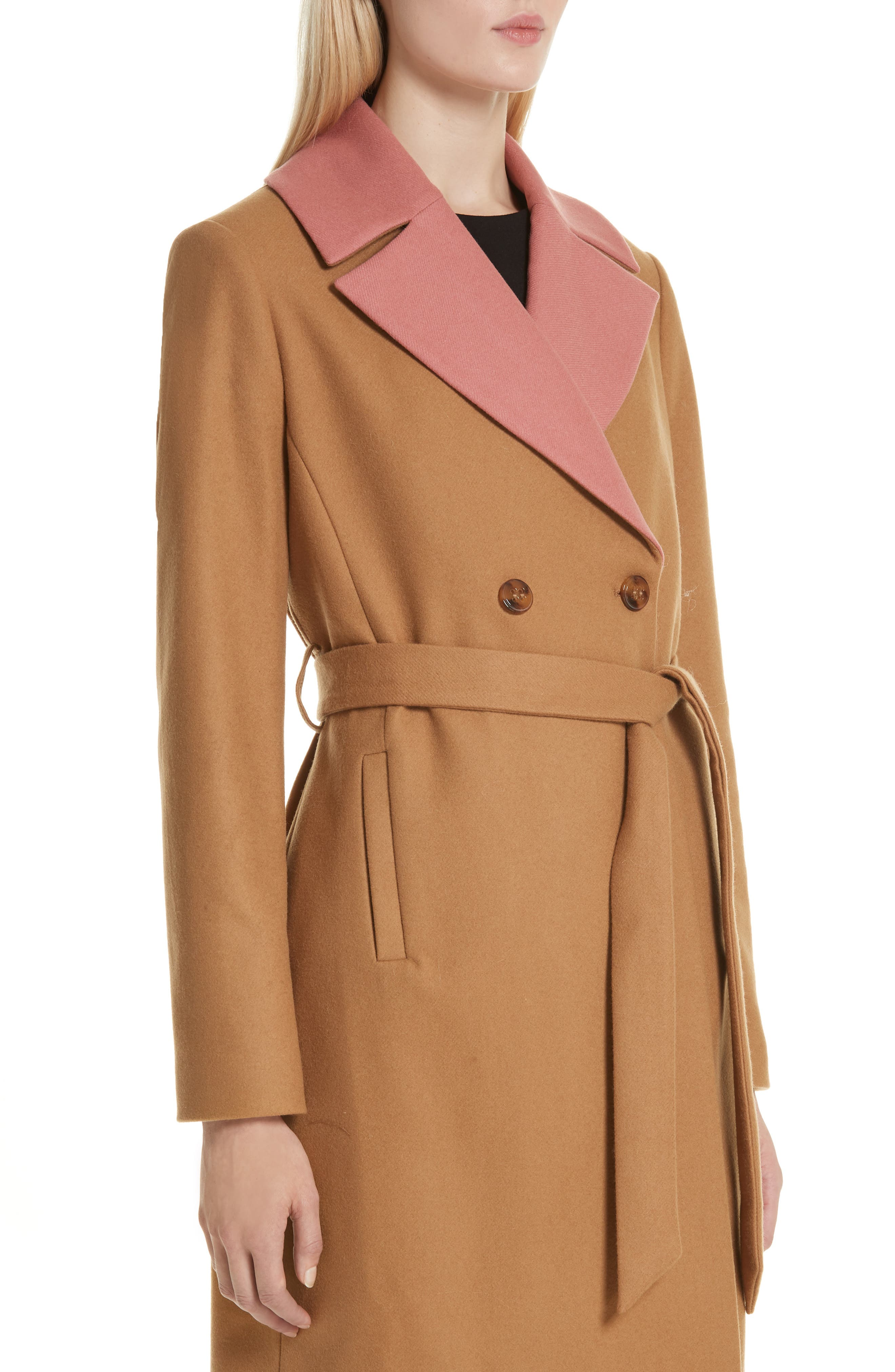 Colour by Numbers Alcaza Wool Coat with Removable Faux Fur Collar,                             Alternate thumbnail 4, color,                             257