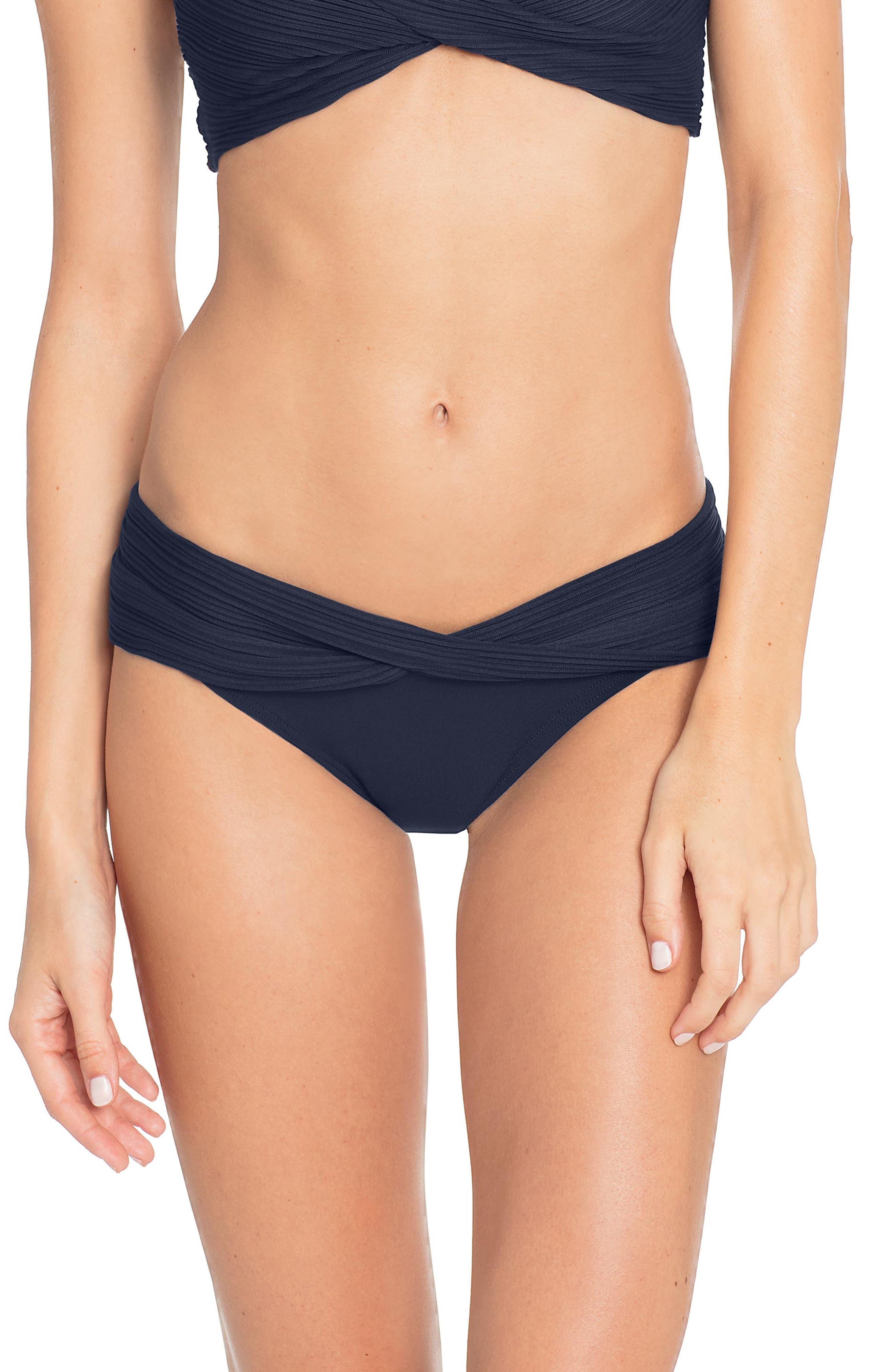 Robin Piccone Twist Waistband Hipster Bikini Bottoms, Blue