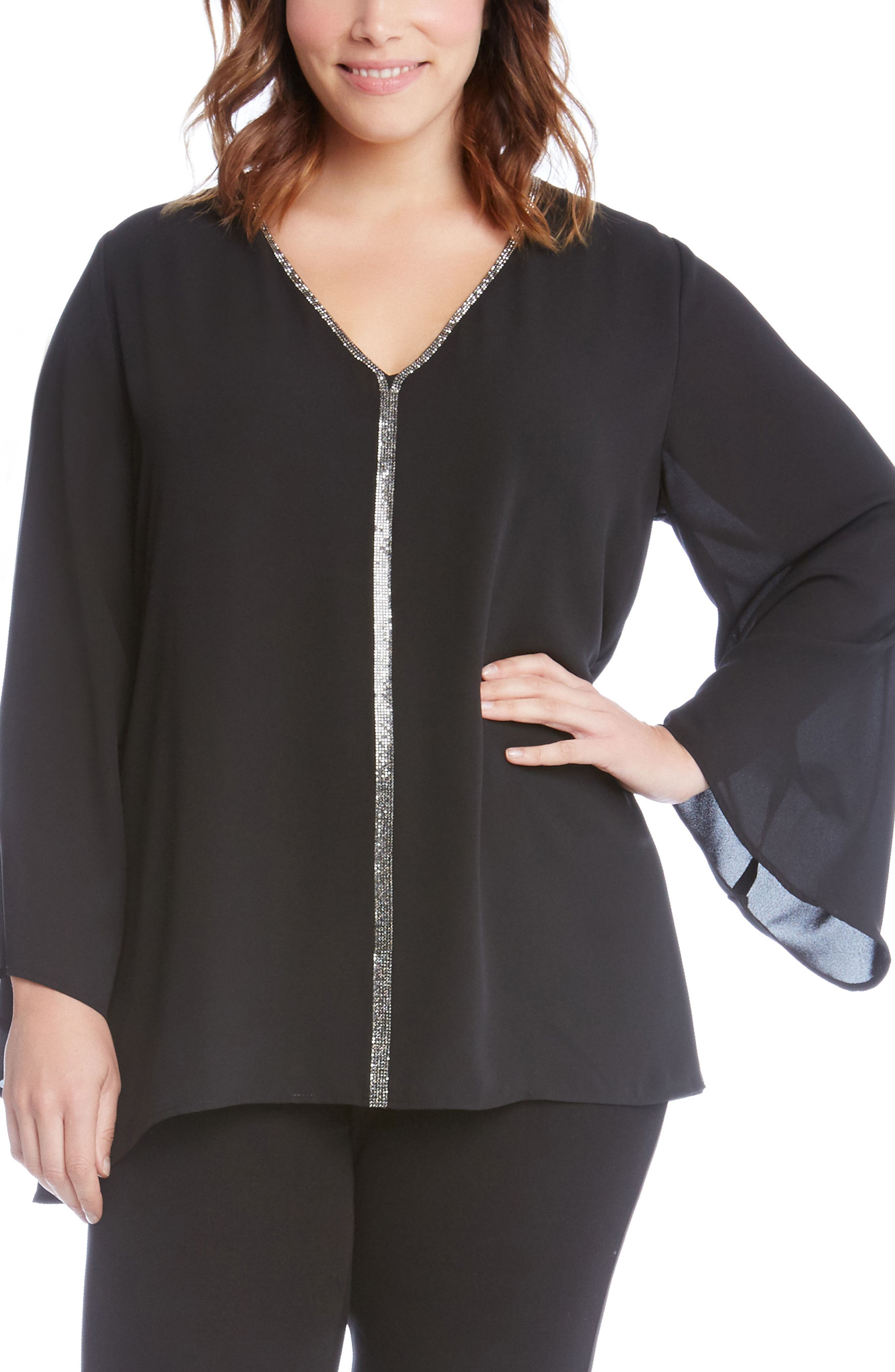 Sparkle Bell Sleeve Top,                             Main thumbnail 1, color,                             001